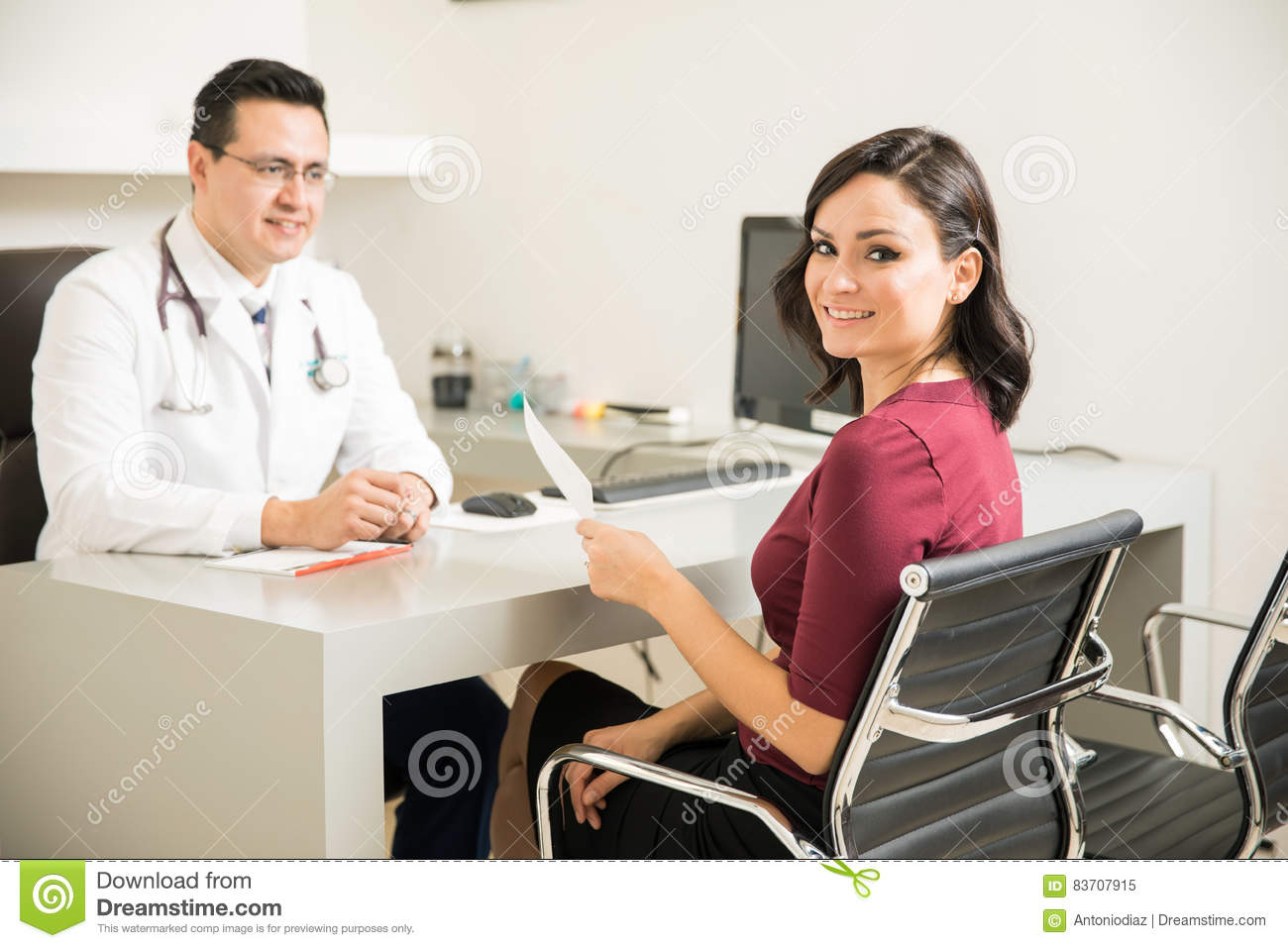 Cute Patient At The Doctor`s Office Stock Photo