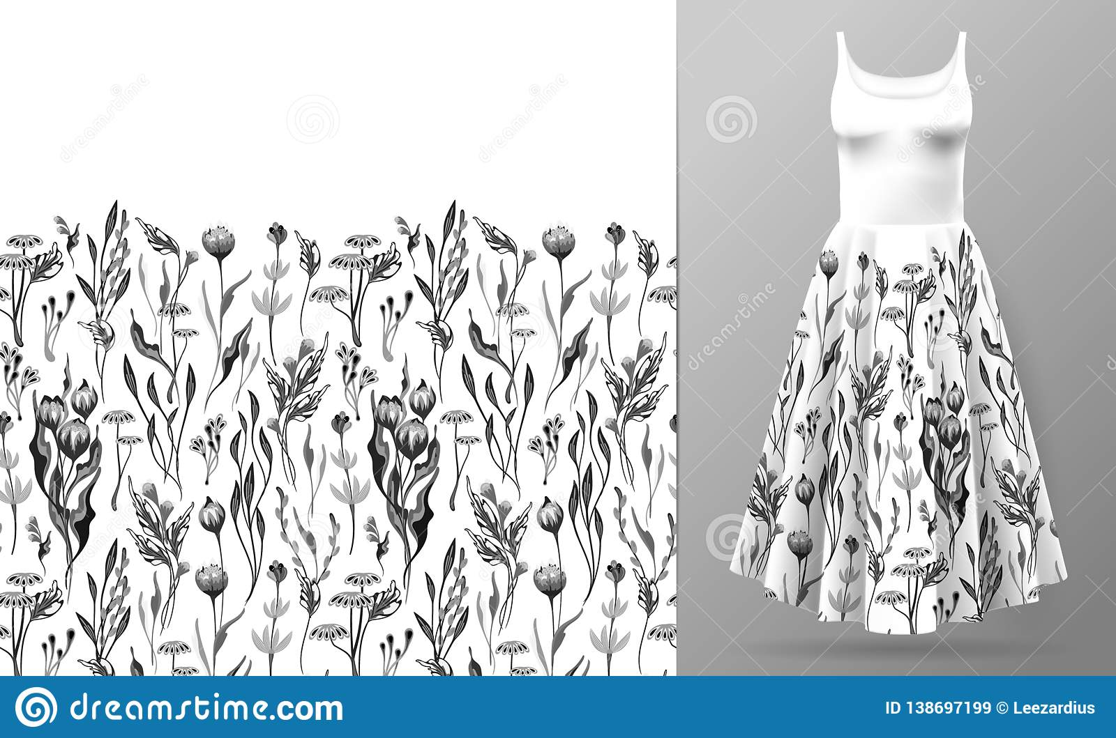 Cute pattern in small simple flowers. Seamless background and seamless border. An example of the pattern of the dress