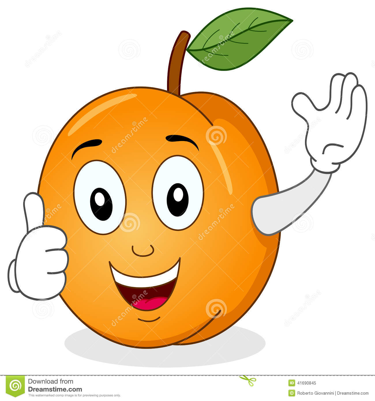 Cute Apricot Character With Thumbs Up Stock Vector Image 41690845