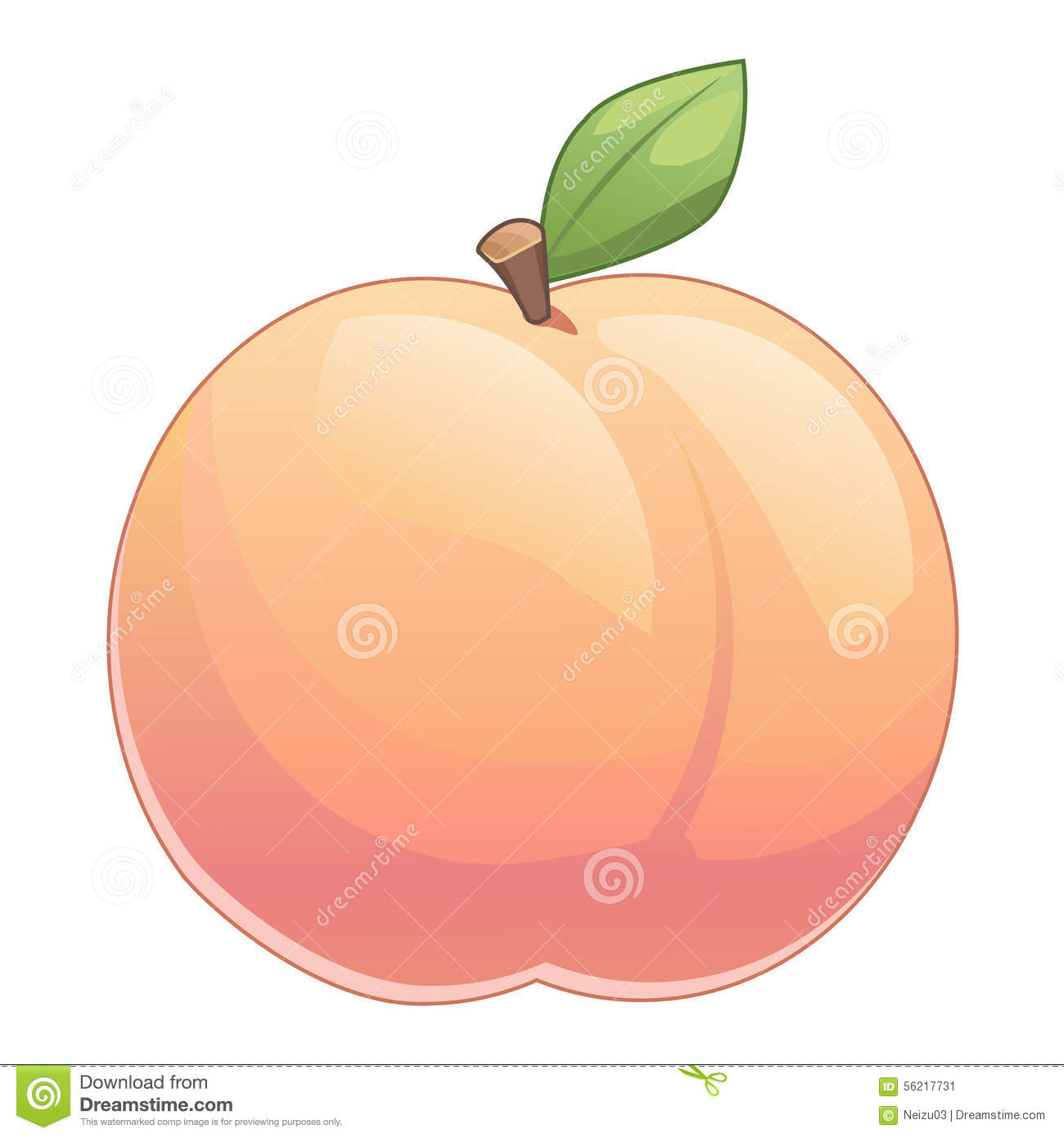 Cute Peach With Leave Stock Illustration - Image: 56217731