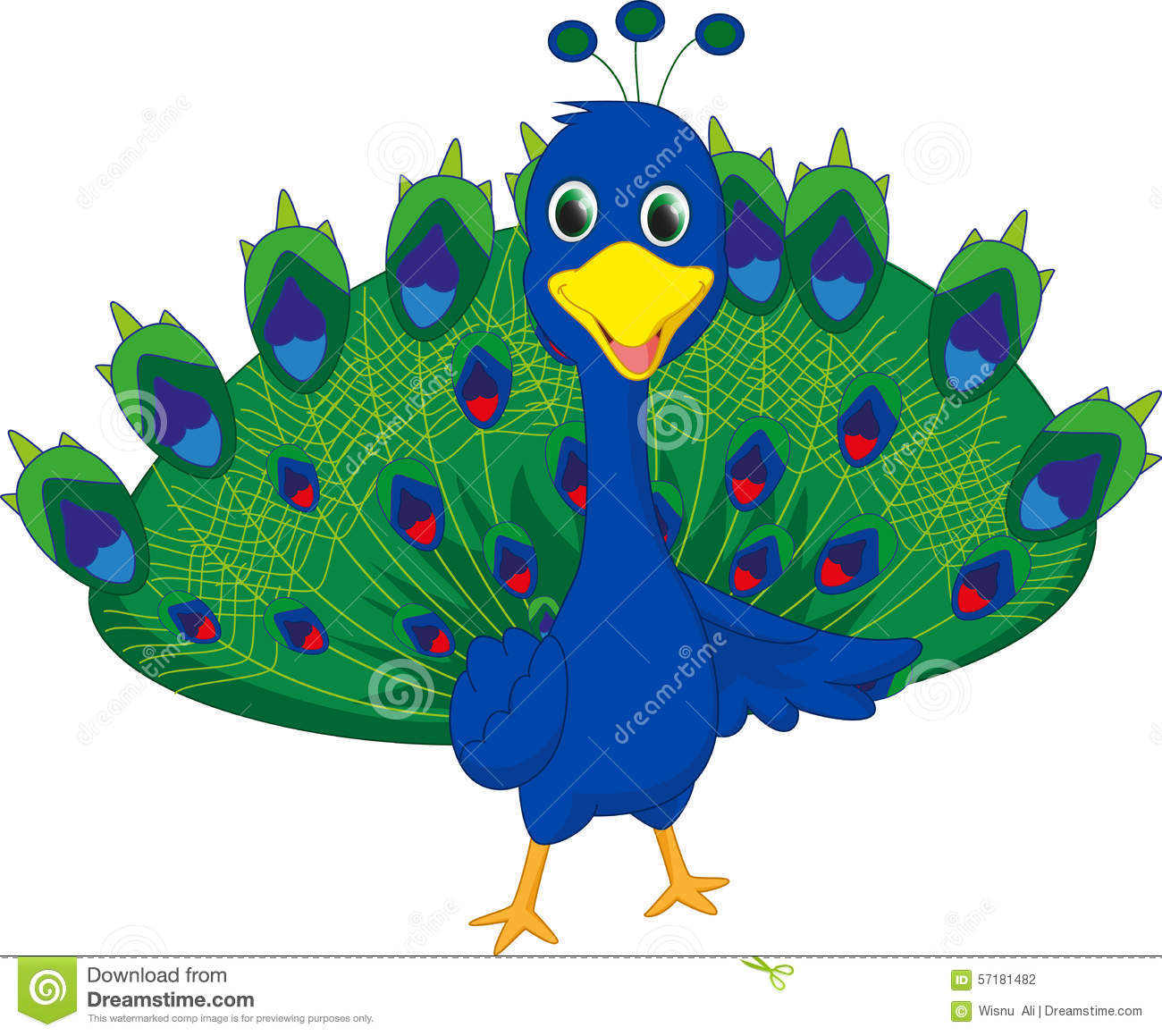 Cute Peacock Cartoon Stock Vector - Image: 57181482