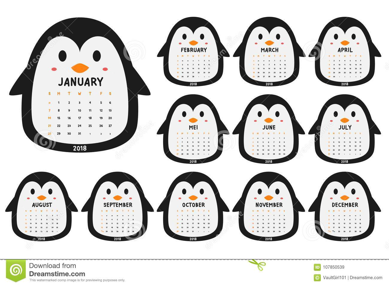 picture about Penguin Template Printable called Lovely Penguin 2018 Calendar Template Cartoon Vector Inventory