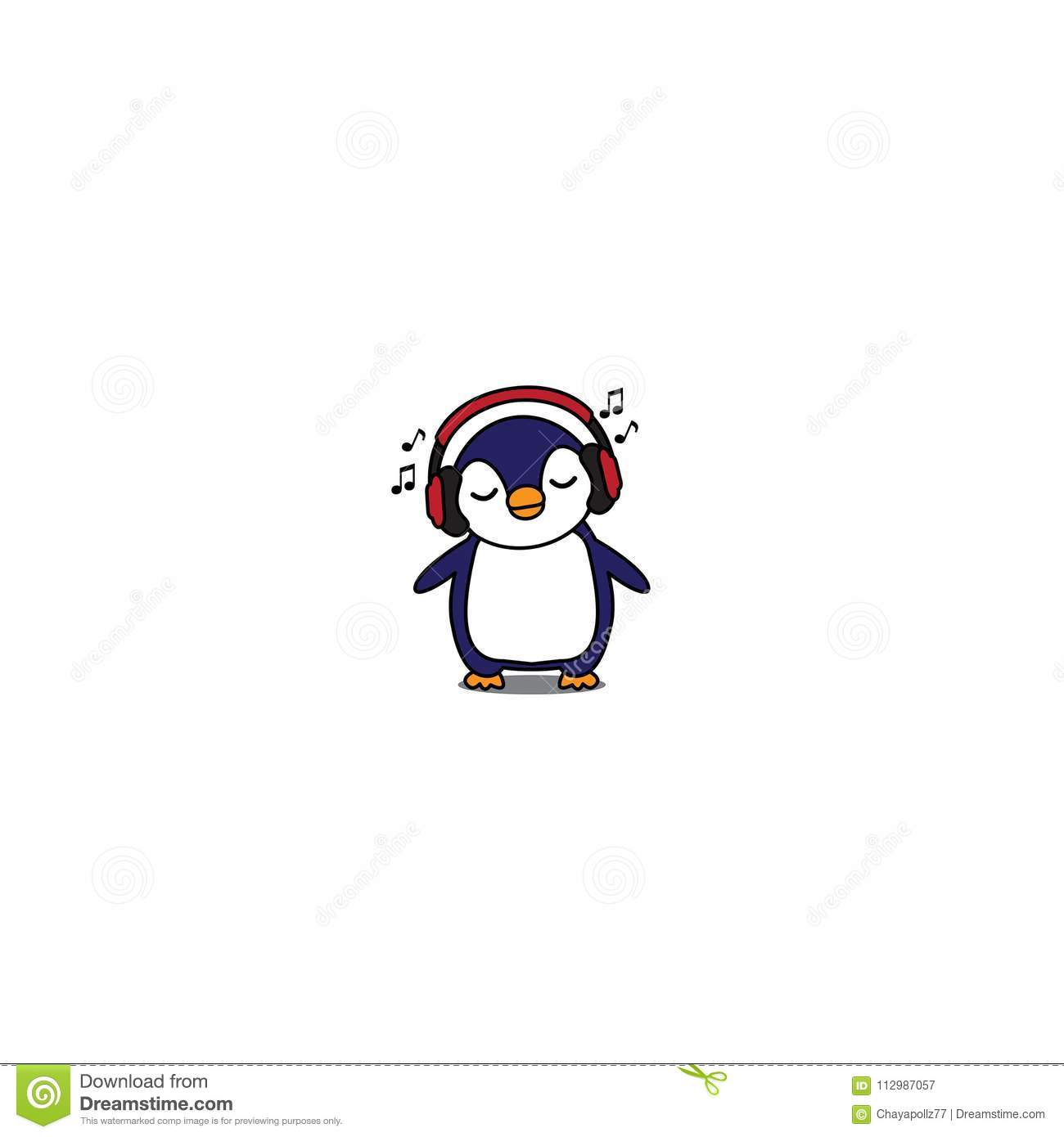 Cute penguin cartoon with red headphones, baby penguin listening music icon