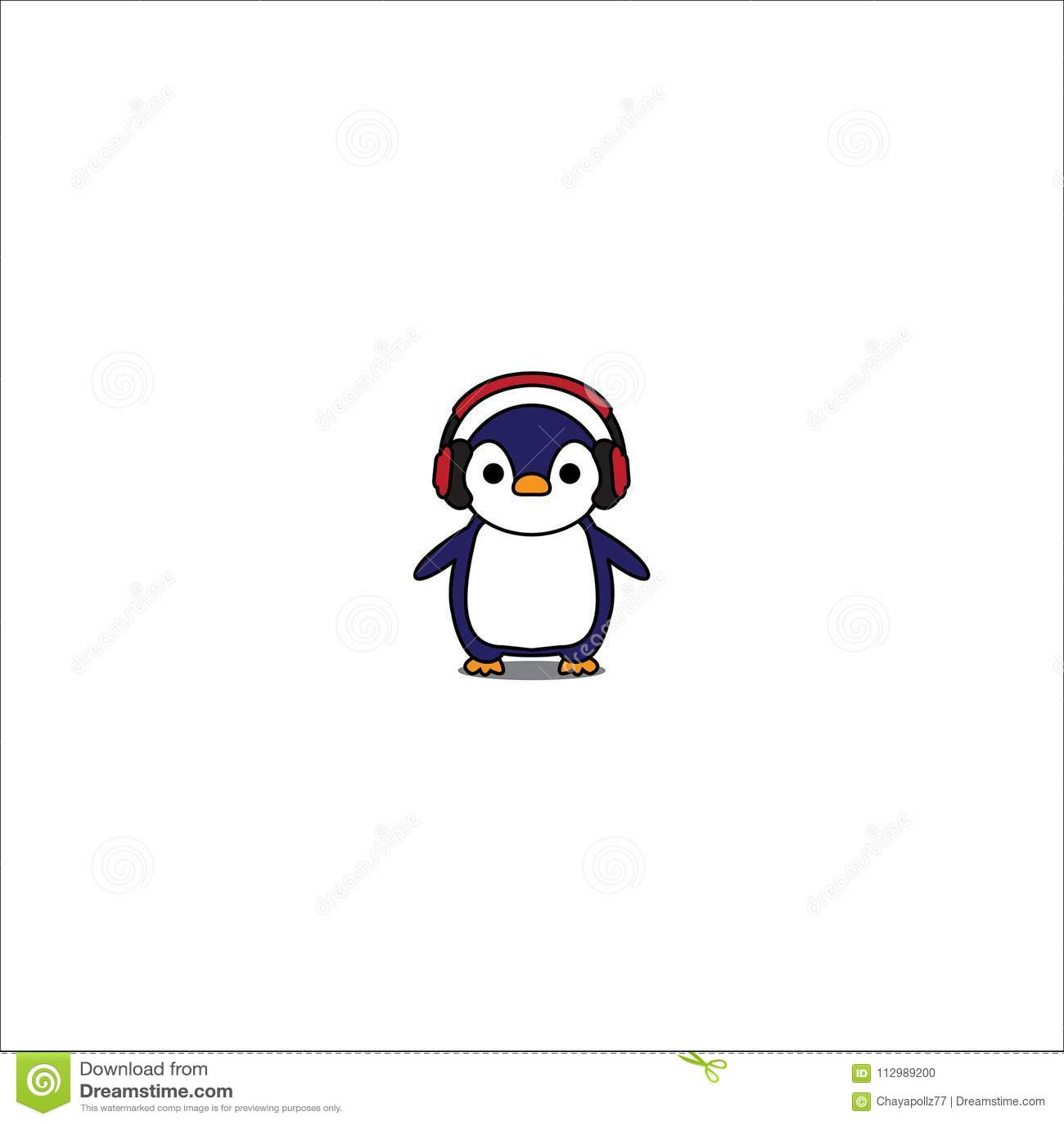 Cute penguin cartoon with red headphones icon