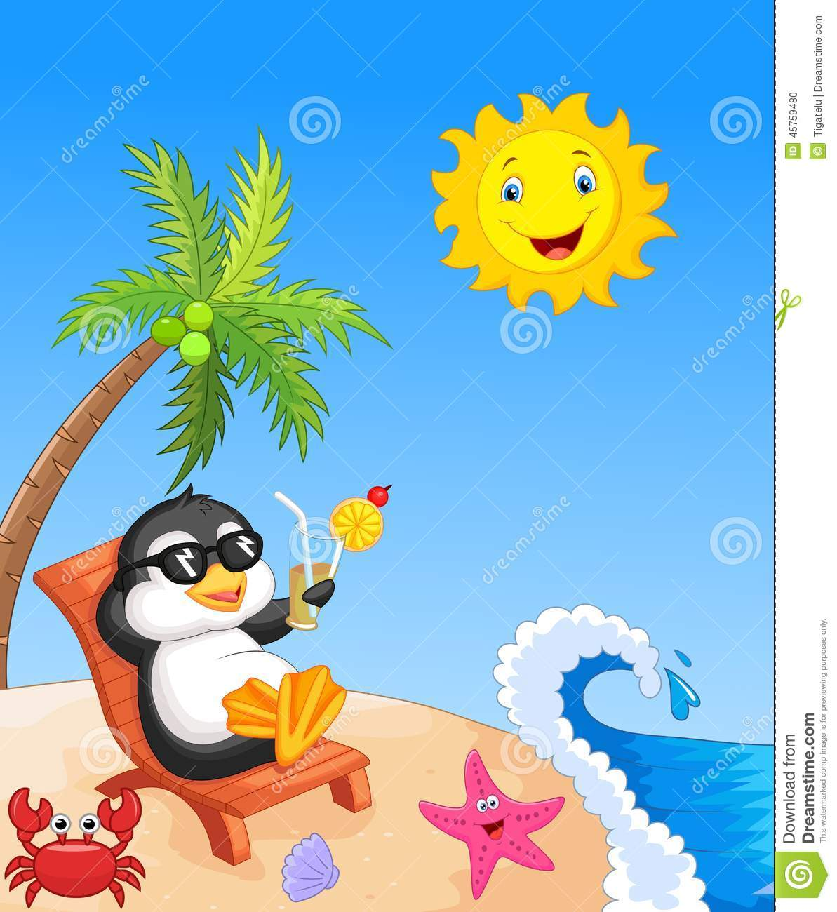 Cute penguin cartoon sitting on beach chair stock vector cute penguin cartoon sitting on beach chair voltagebd Gallery