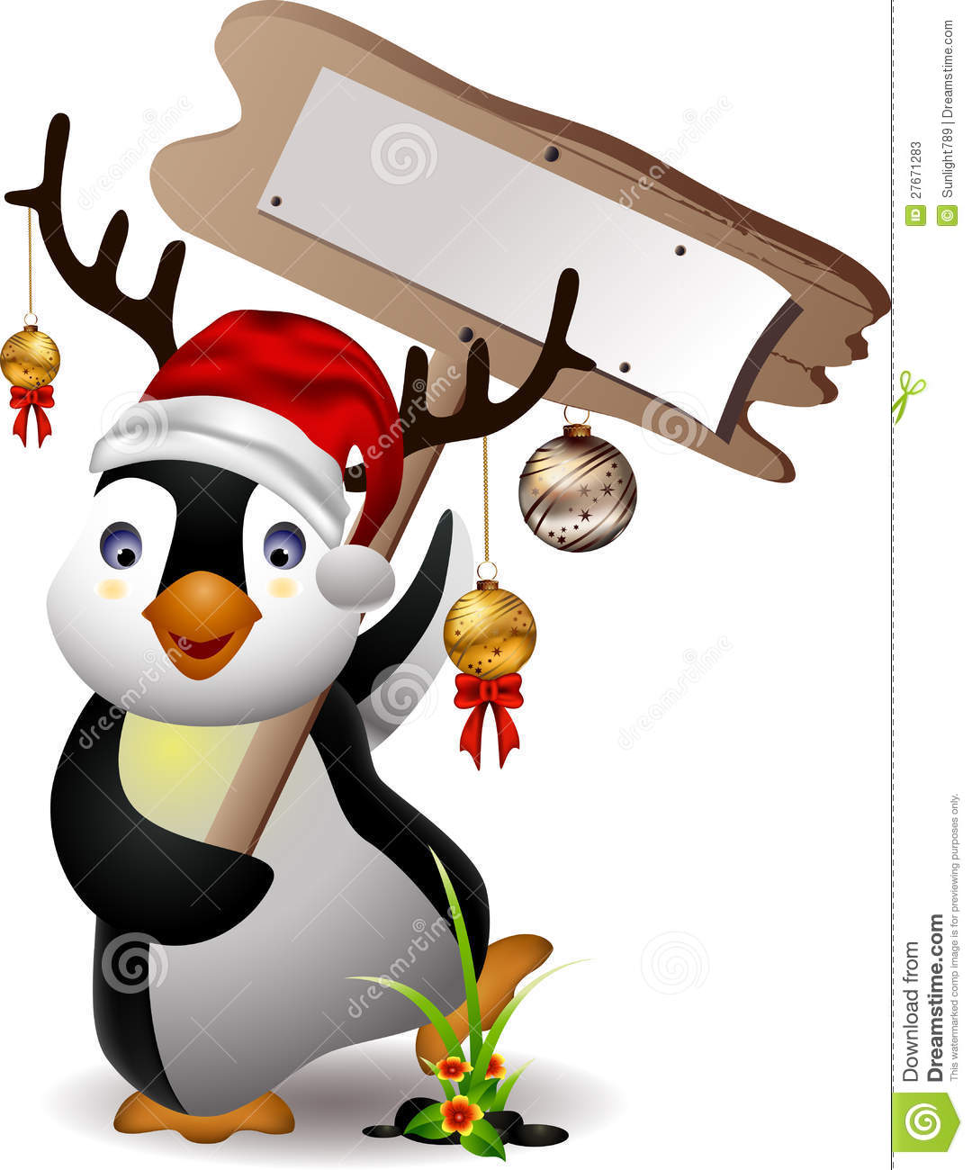 Cute Penguin Christmas Cartoon Stock Photos - Image: 27671283