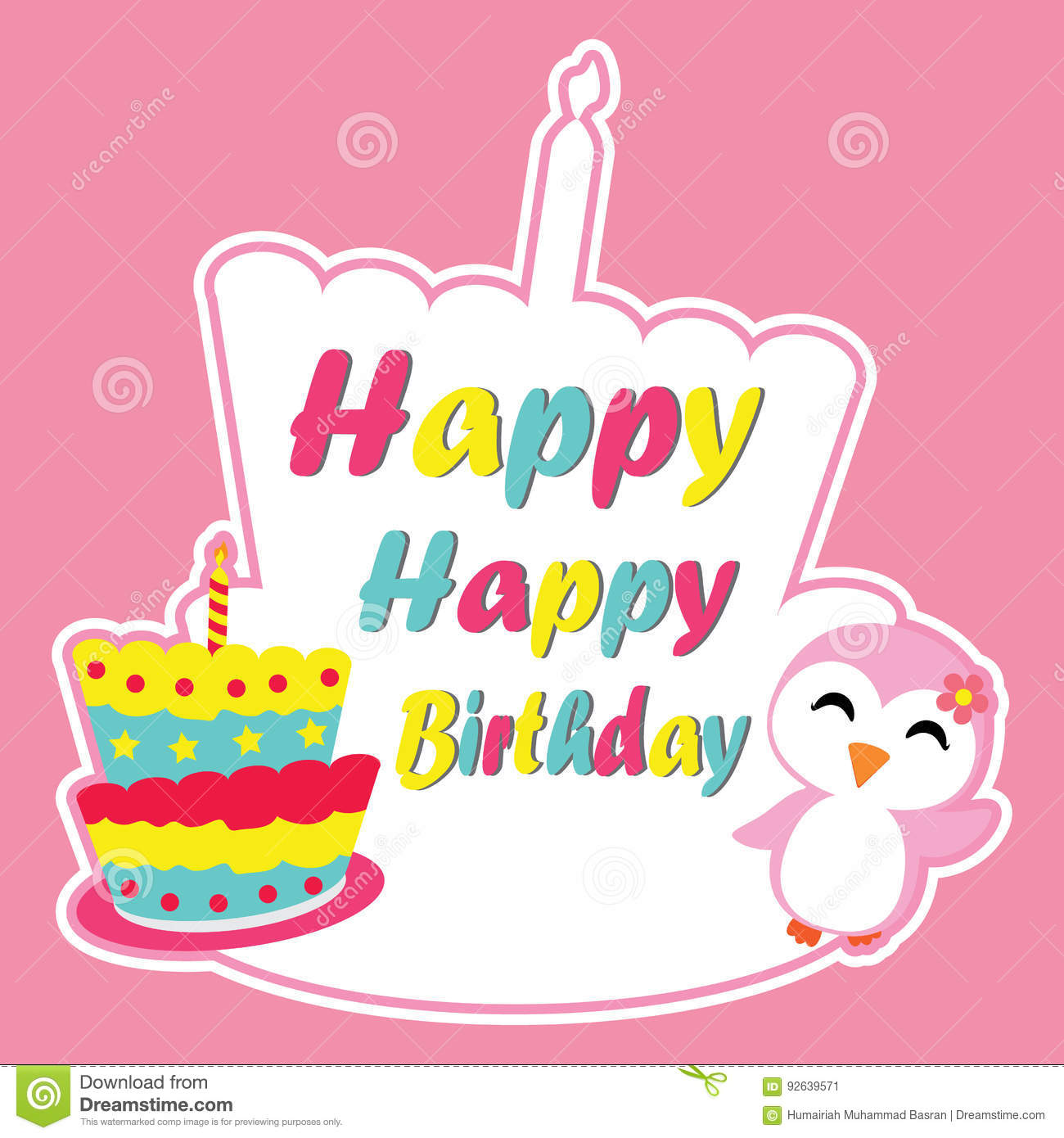 Cute Penguin Girl Is Happy On Birthday Cake Frame Vector Cartoon Postcard Wallpaper