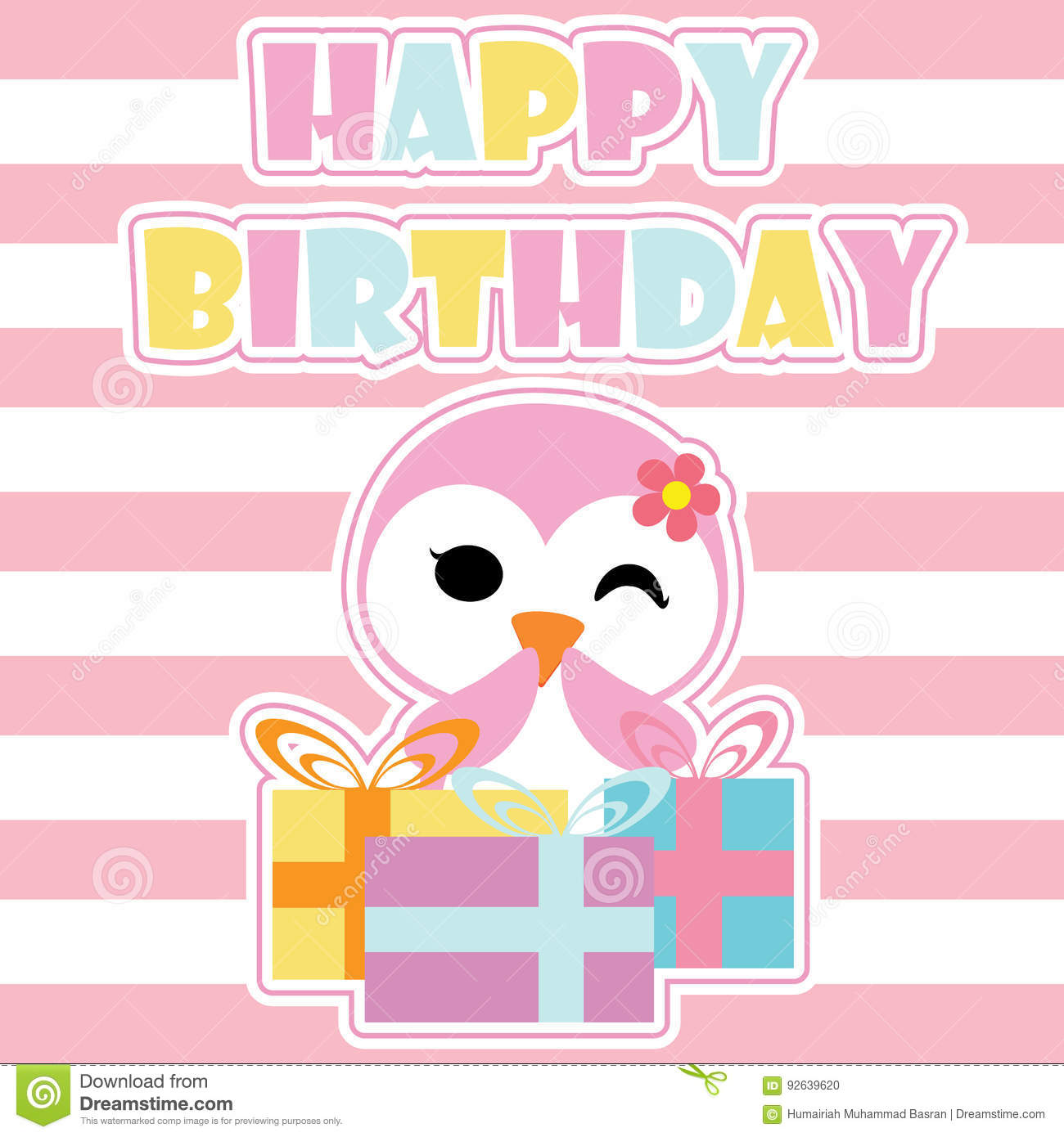 Cute Penguin Girl Is Happy With Birthday Gifts Cartoon Postcard Wallpaper And
