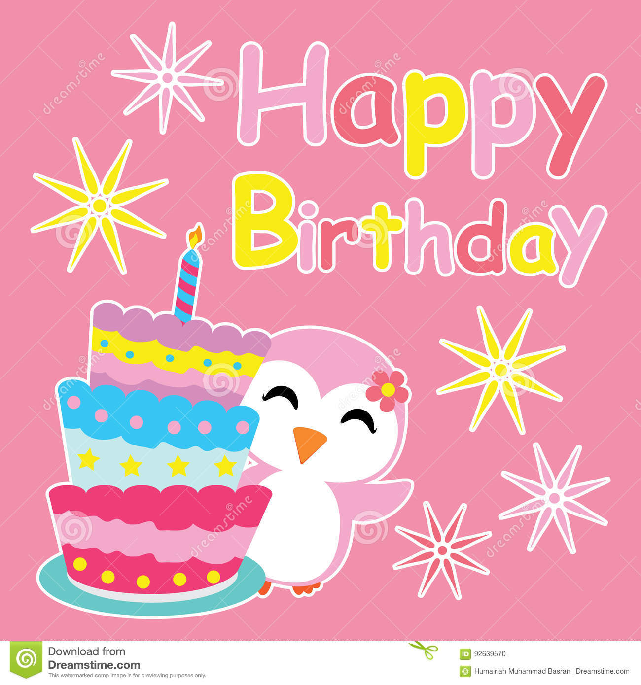 Cute Penguin Girl Smiles Beside Birthday Cake Cartoon Birthday