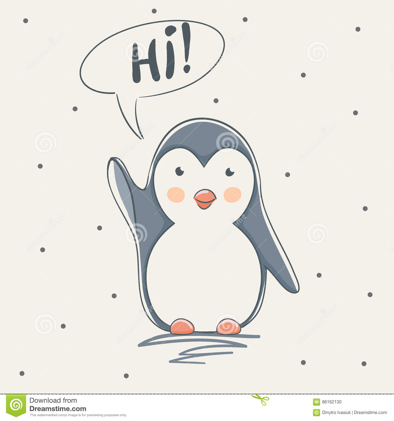 Cute penguin say hi stock vector illustration of abstract 86162130 cute penguin says hiildish cartoon design for kid t shirtsdress or greeting cards m4hsunfo