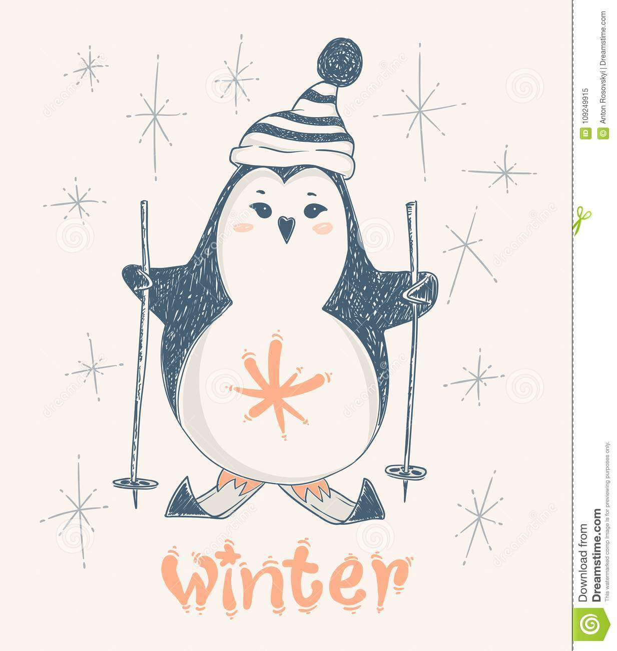Cute Penguin Skiing. Vector Print Design For Kid T-shirts,dress Or ...