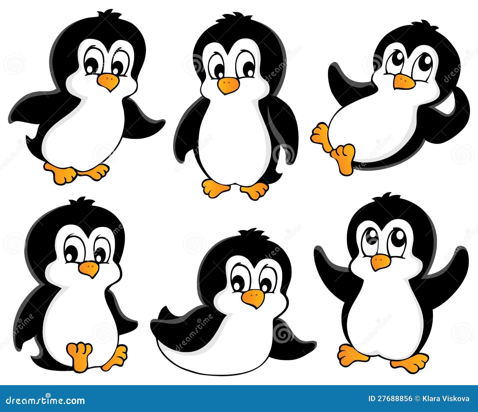 Flat emoticons of fantastic penguin