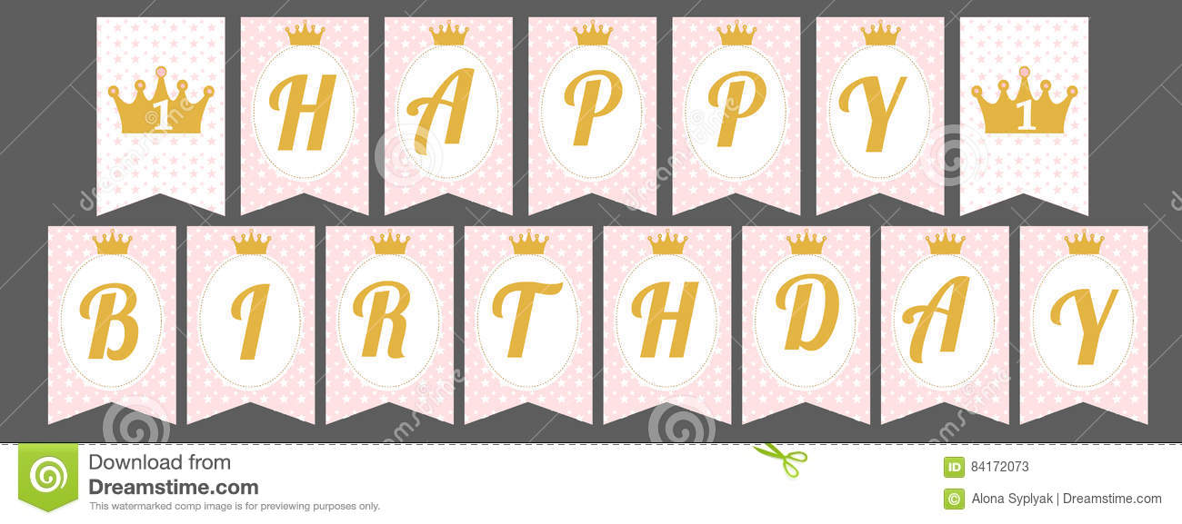 photo about Happy Birthday Printable Banner known as Lovely Pennant Banner As Flags With Letters Joyful Birthday Within just