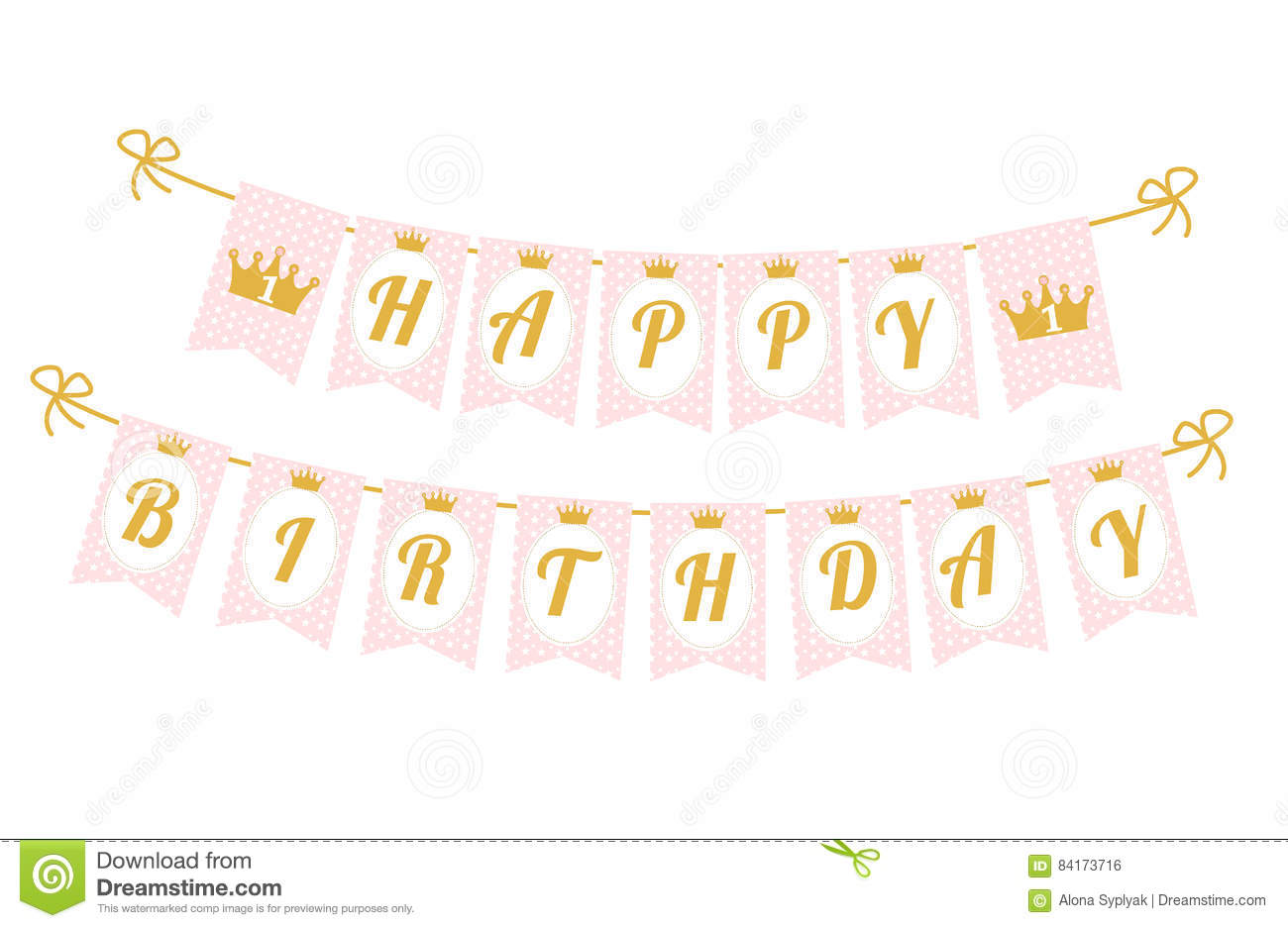 cute pennant banner as flags with letters happy birthday in