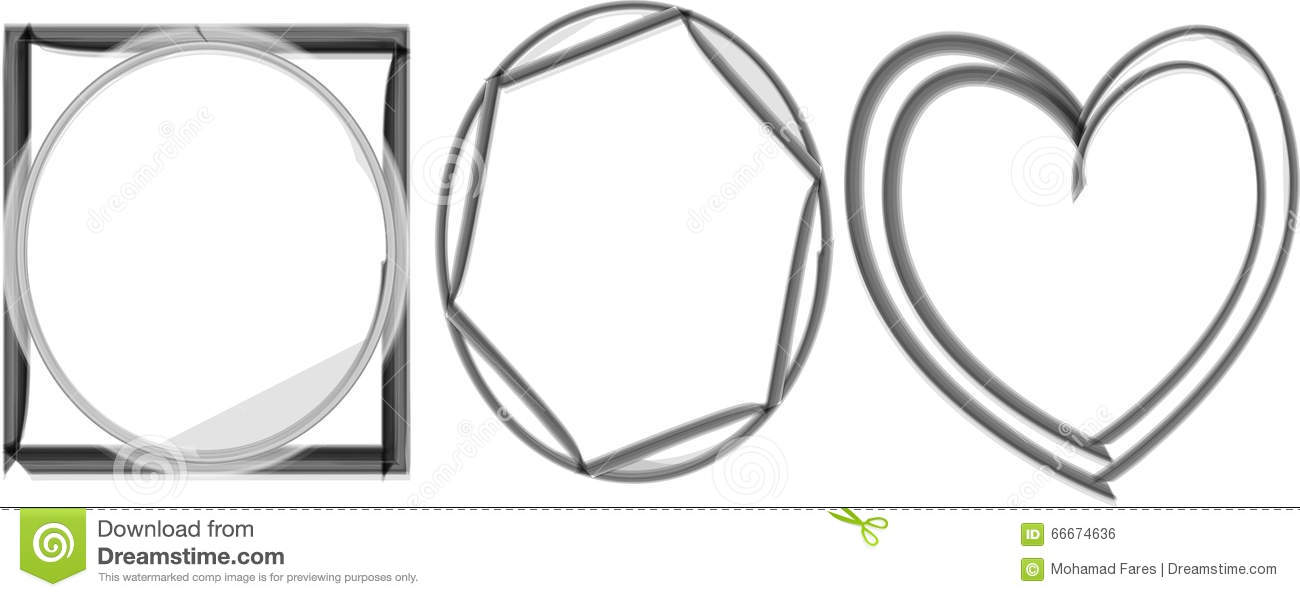 A Cute Photo Frame Shapes Black And White Stock Vector ...