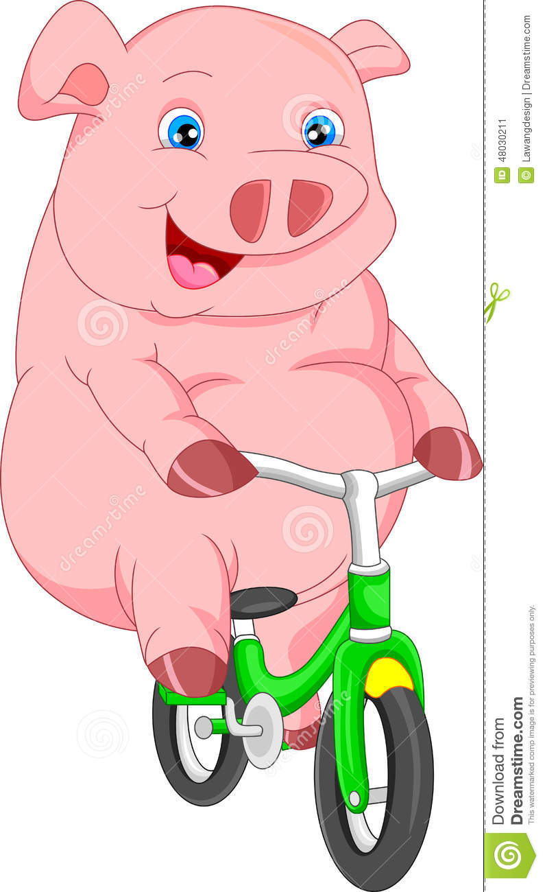 Cute Pig Cartoon Bike Ride Stock Vector - Image: 48030211