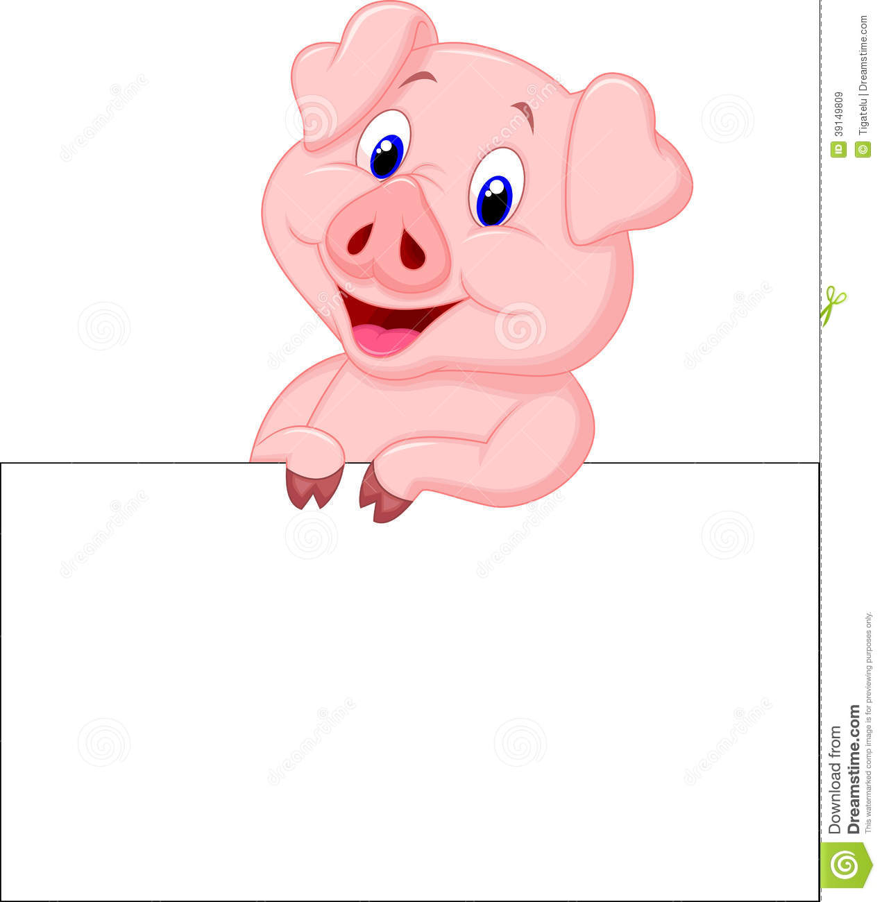 Cute Pig Cartoon Holding Blank Sign Stock Vector - Image: 39149809