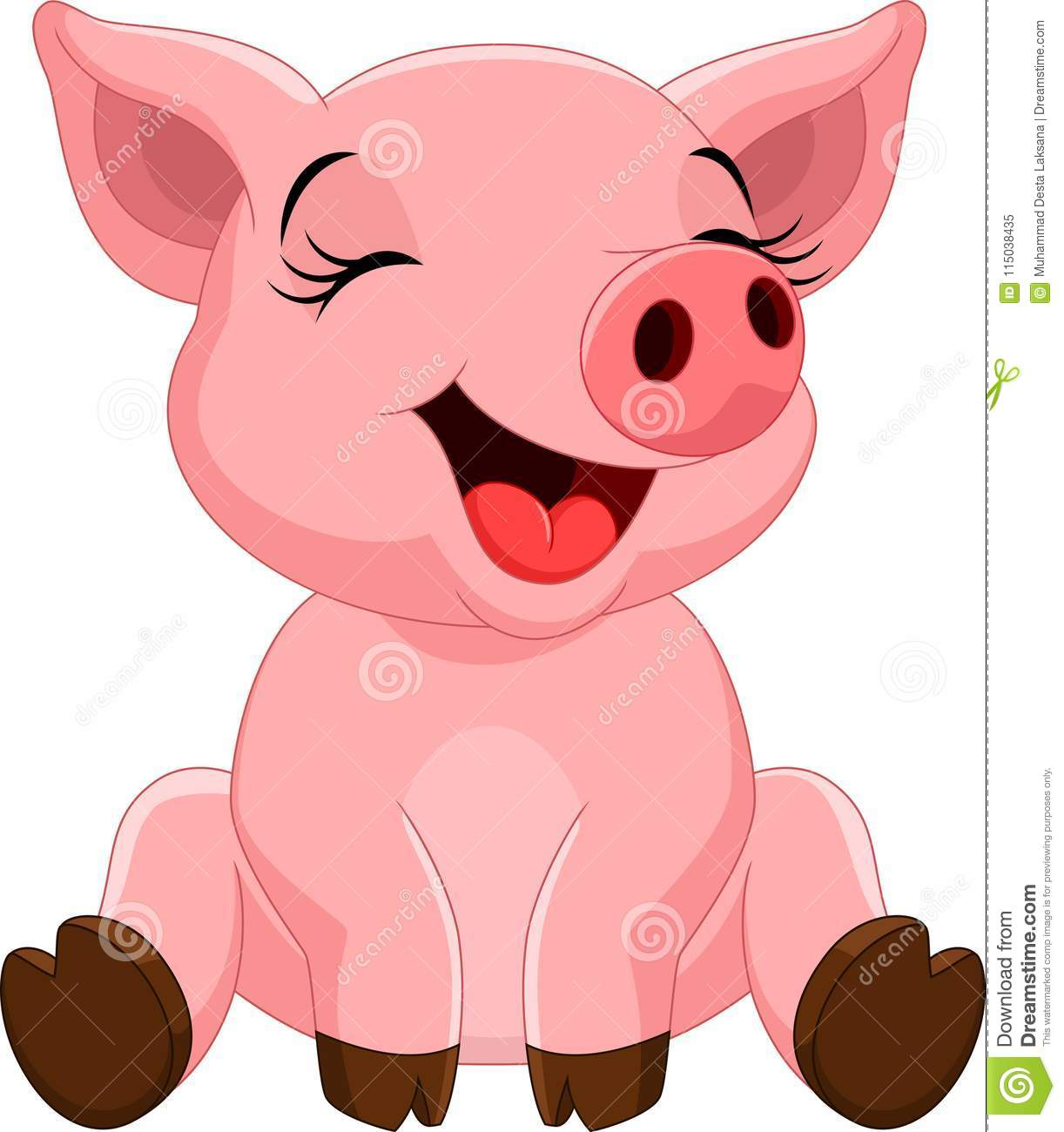 cute pig cartoon sitting stock illustration illustration of