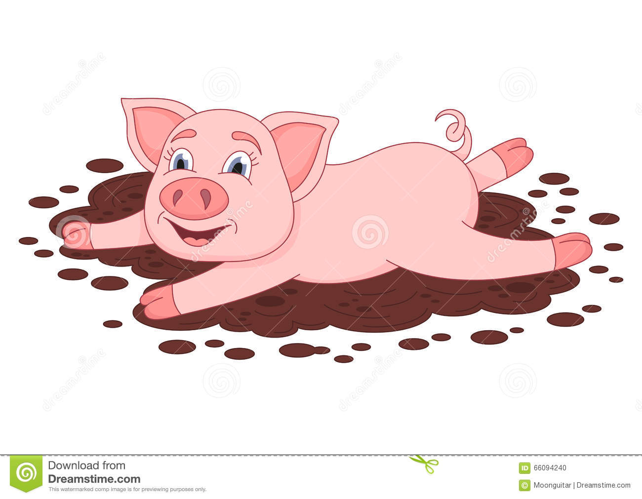 Cute Pig In A Puddle Funny Piggy Lies And Smiling Stock