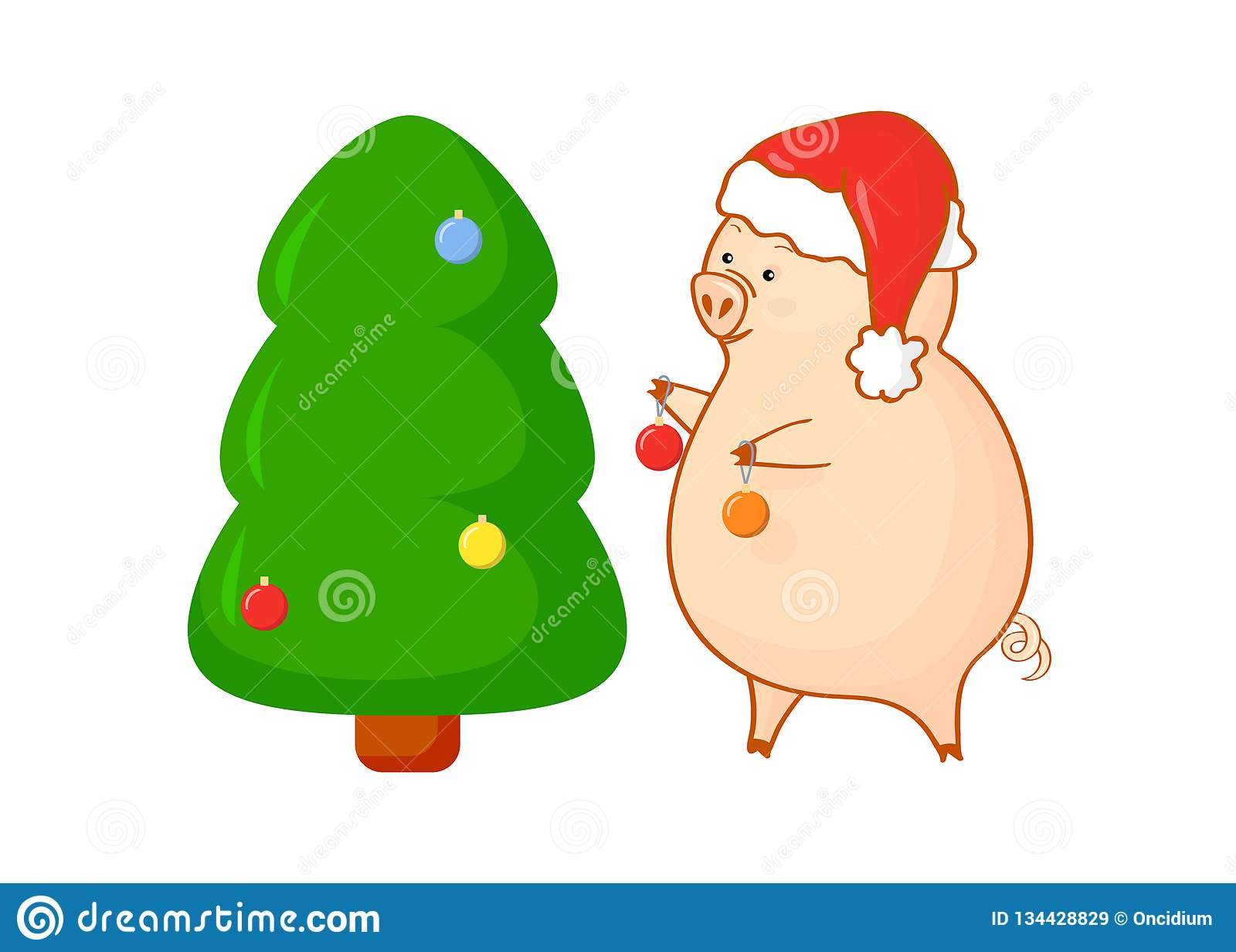 2f8acdbe7223c Cartoon piggy with Christmas tree and christmas balls. Isolated. It can be  an element for design
