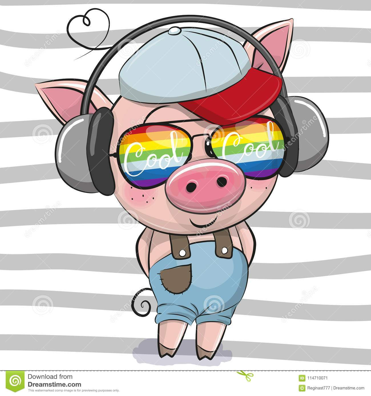Cute Pig With Sun Glasses Stock Vector. Illustration Of