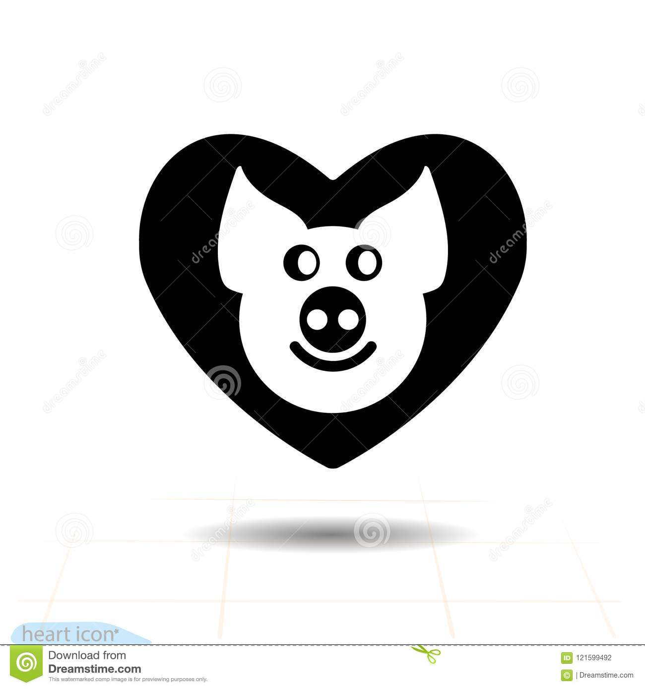 Cute Piggy In Heart Black Icon Love Symbol Valentines Day Sign