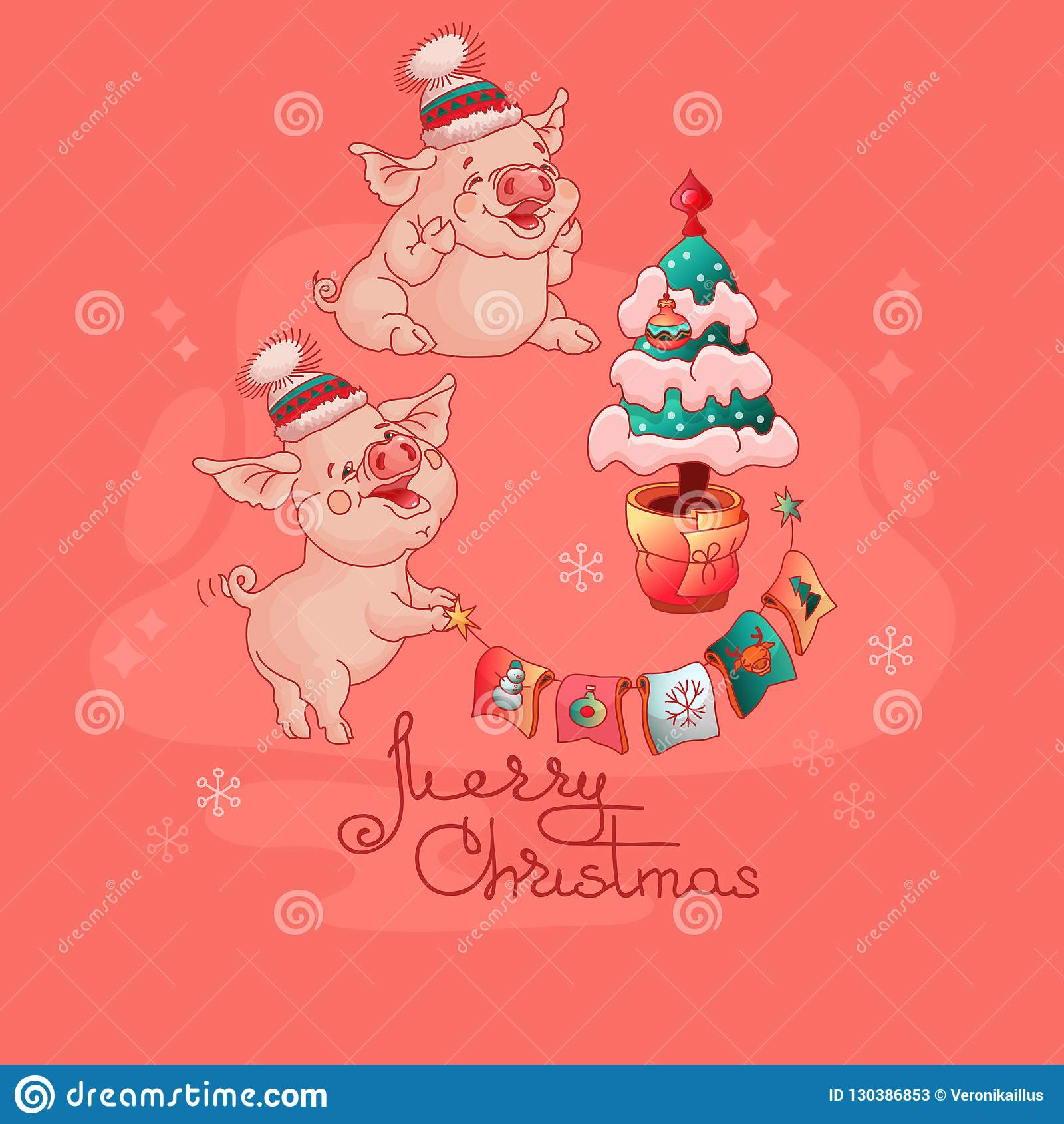 Christmas Pigs.Cute Pigs In Hats Near The Christmas Tree Vector Stock