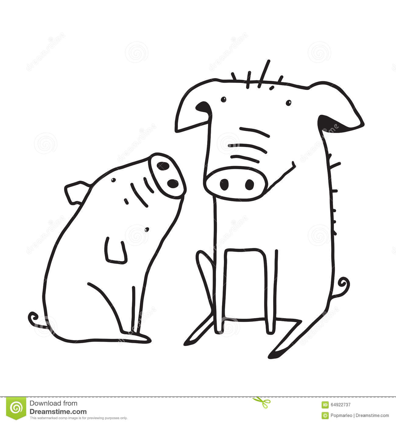 Line Drawings Of Farm Animals : Cute pigs outline funny illustration for kids mom stock
