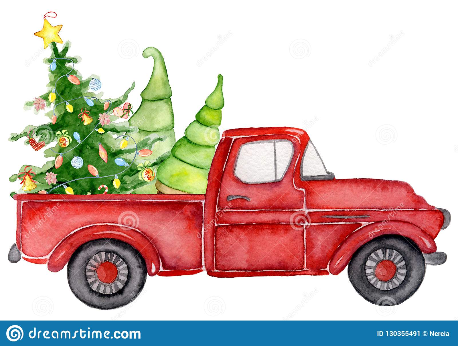 Red Christmas Truck With Pine Trees New Year Watercolor Illustration Stock Illustration Illustration Of Tree Merry 130355491