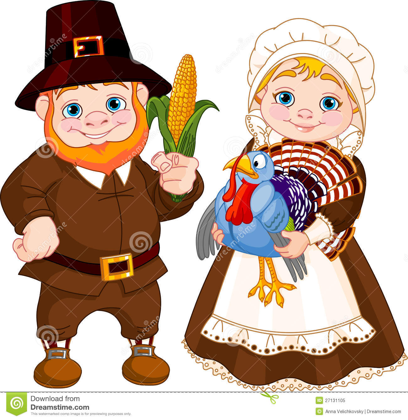 Cute Pilgrims Couple Royalty Free Stock Photo - Image: 27131105