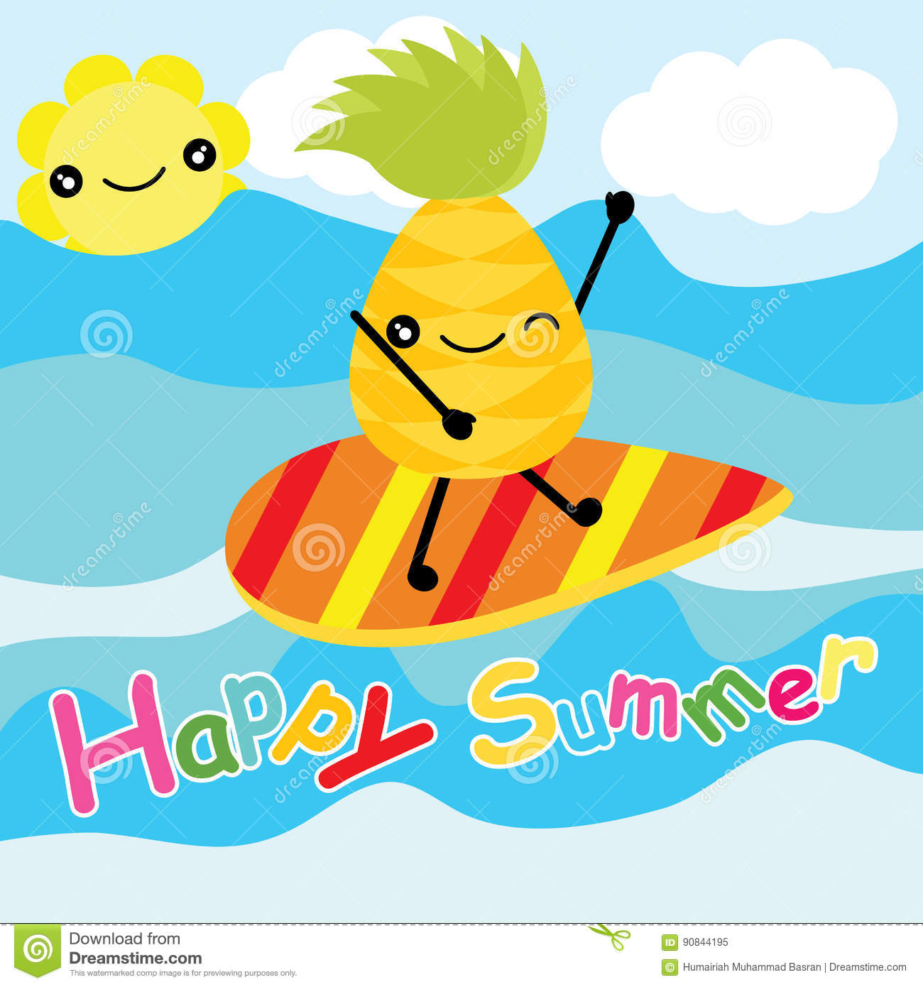 Cute Pineapple Is Surfing On The Beach On Striped Background