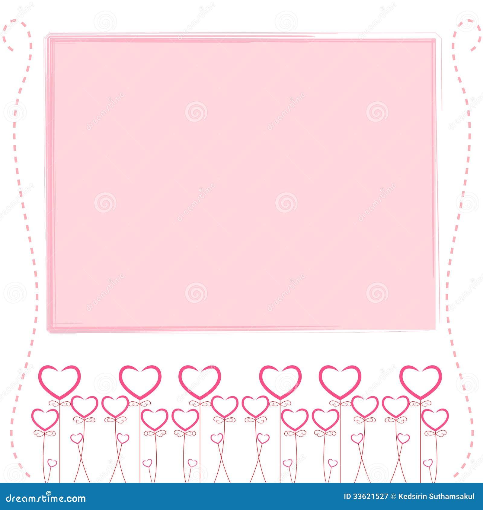 Cute pink background cute card of love stock vector - Marcos de papel para fotos ...