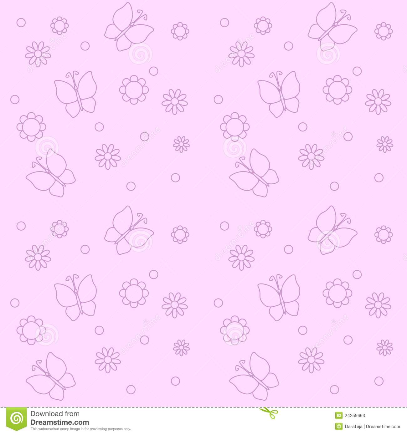 cute pink background with flowers and butterflies stock