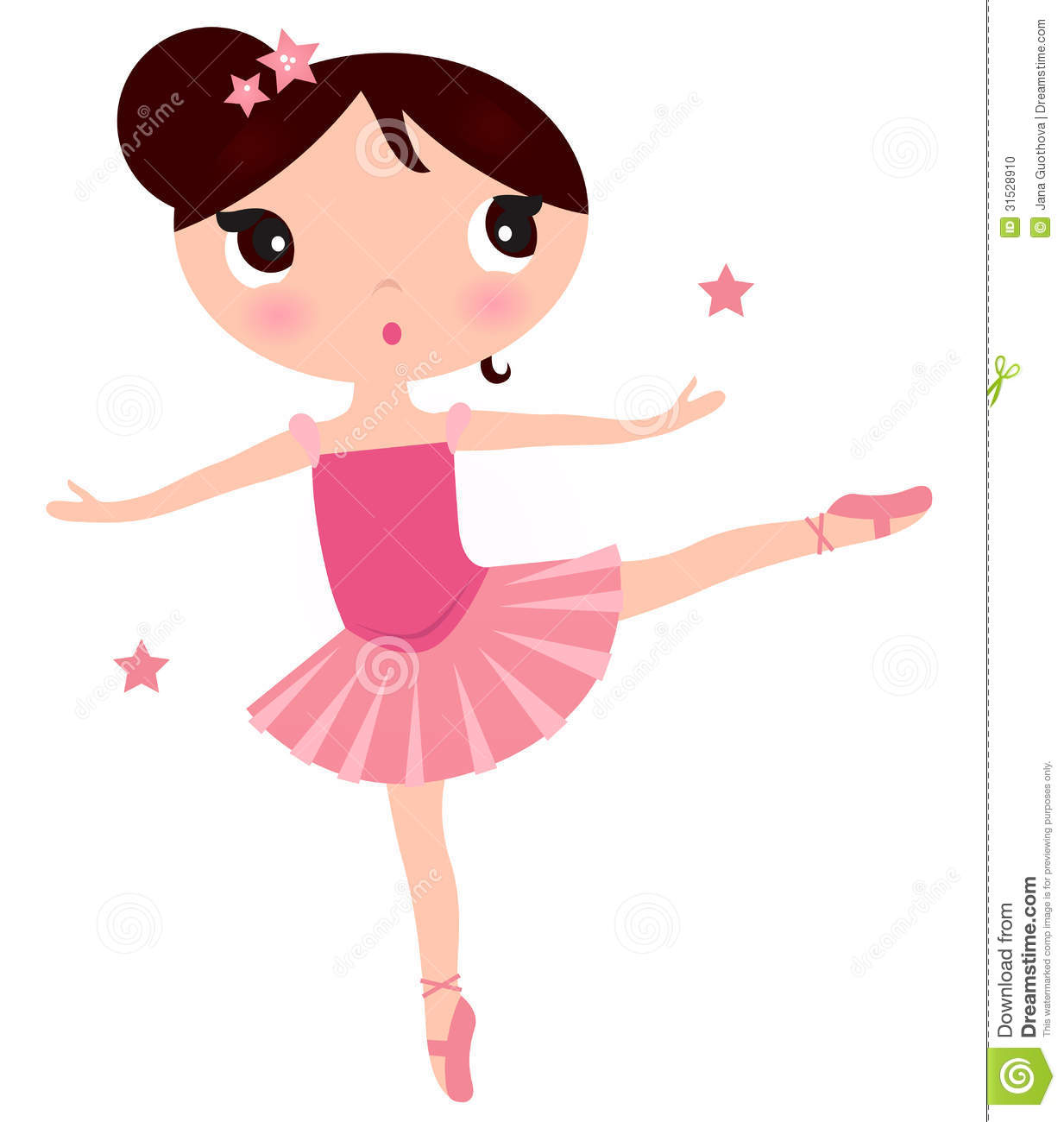 Beautiful little ballerina girl. Vector cartoon Illustration.