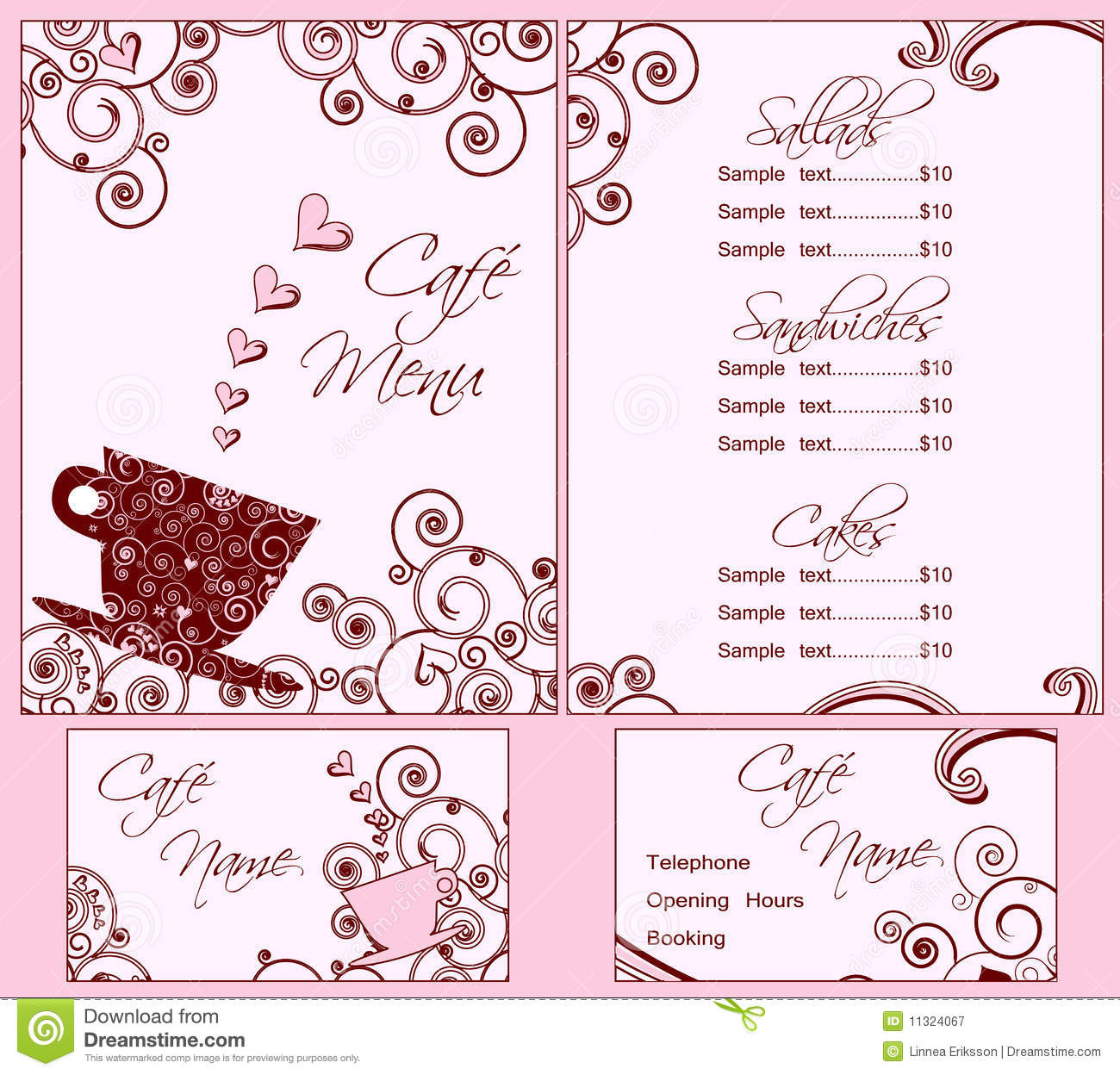 cute pink cafe menu and business card templates stock vector image 11324067. Black Bedroom Furniture Sets. Home Design Ideas