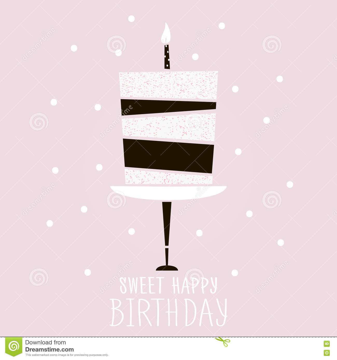 Cute Pink Cake With Happy Birthday Wish Modern Greeting Card Template Creative
