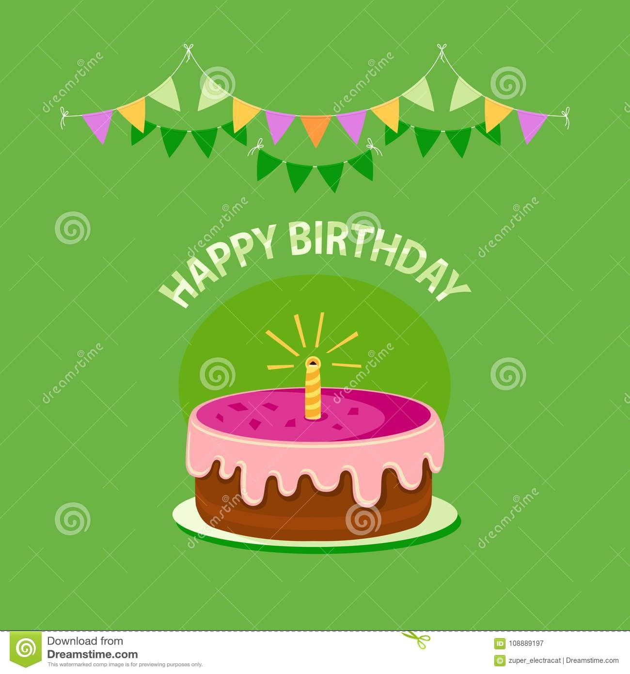 Fine Cute Pink Cake With One Candle Garland And Text Happy Birthday Funny Birthday Cards Online Alyptdamsfinfo