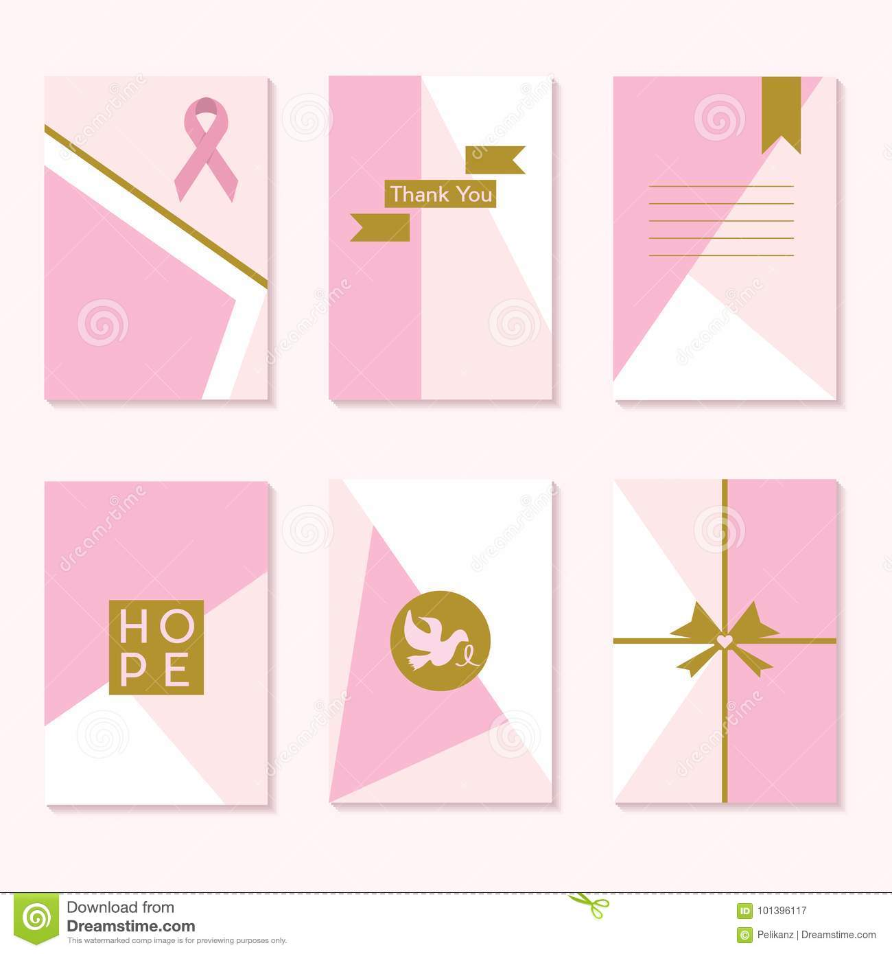 Cute Pink Cancer Awareness Trendy Backgrounds Template Cards Set