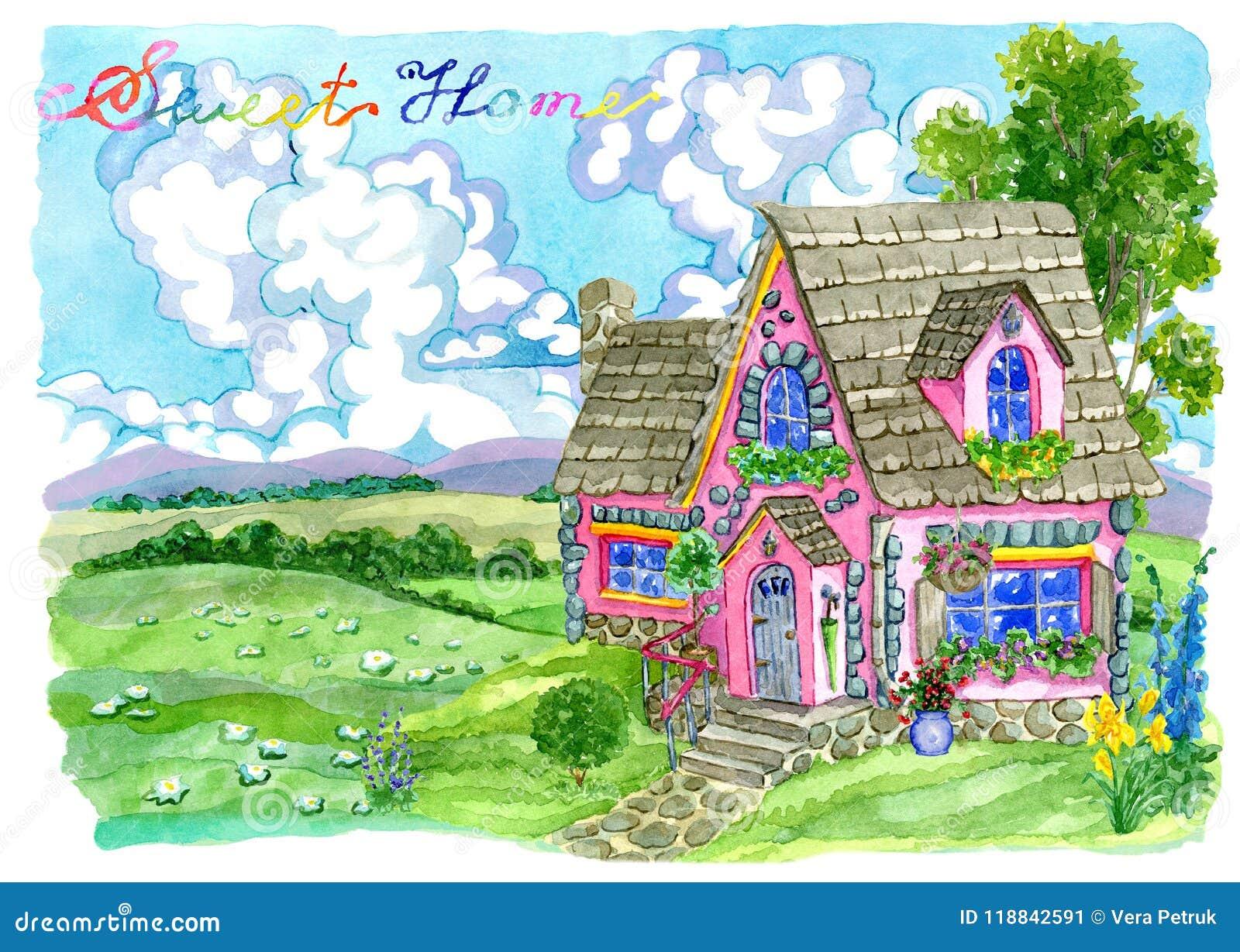 Cute pink cottage with garden flowers against grassland