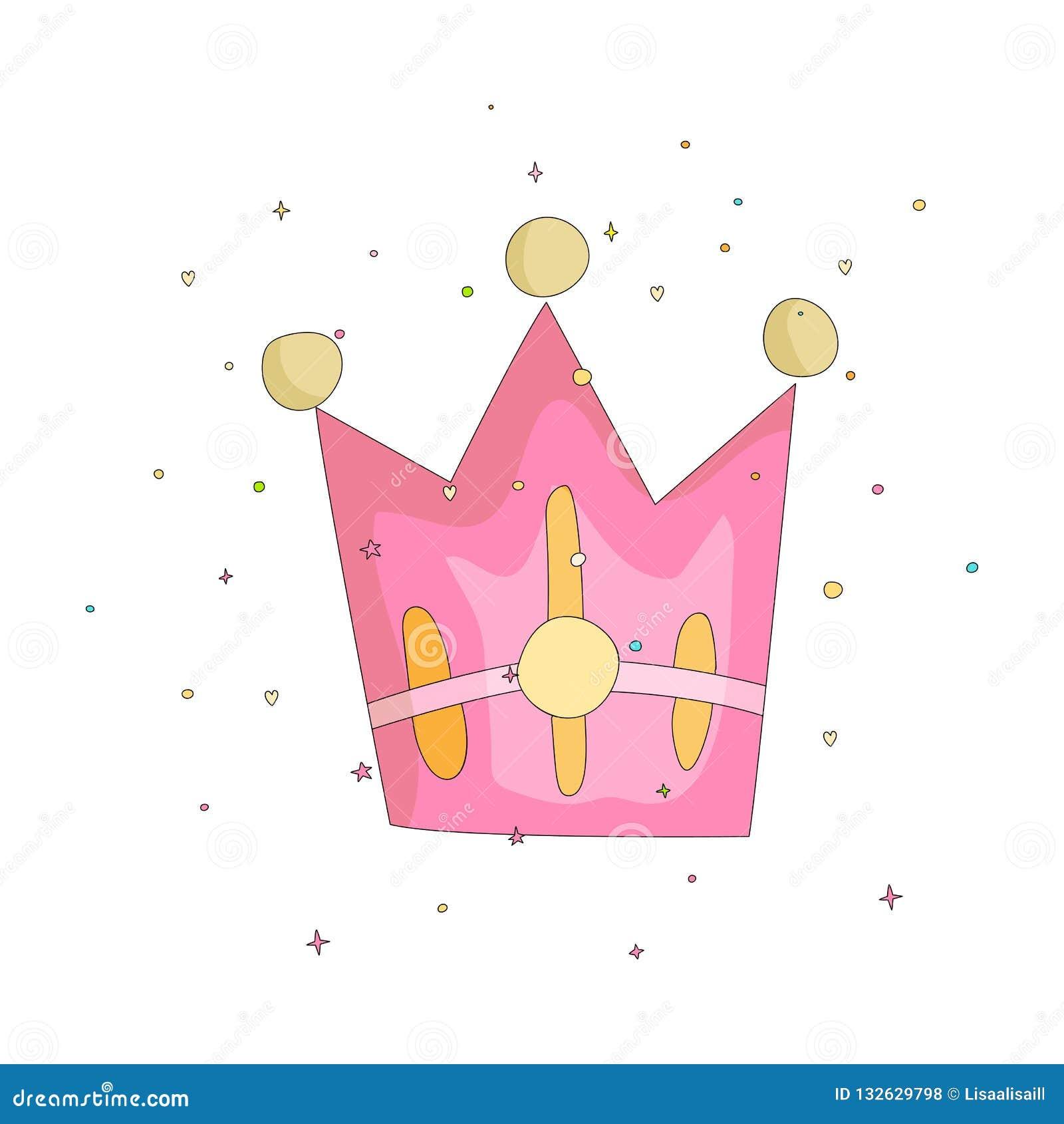 Cute Pink Crown With Gems Cartoon Icon Fun Cartoon Crown With