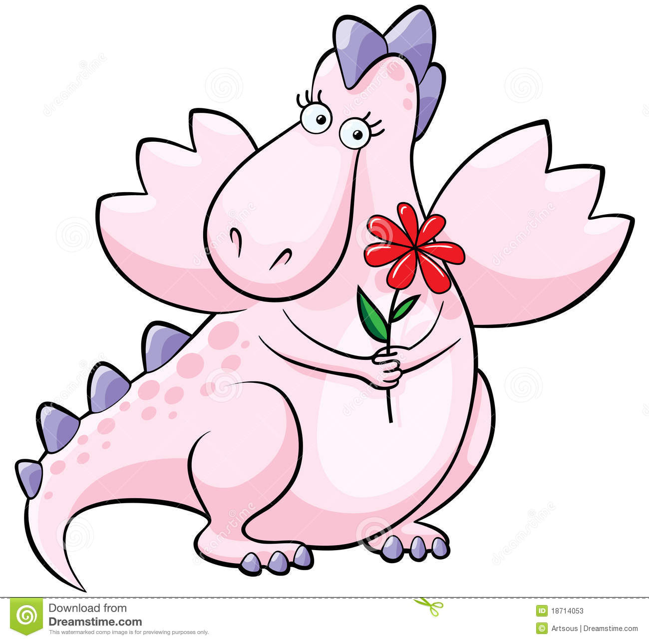 Cute Pink Dragon With Flower Stock Photos - Image: 18714053