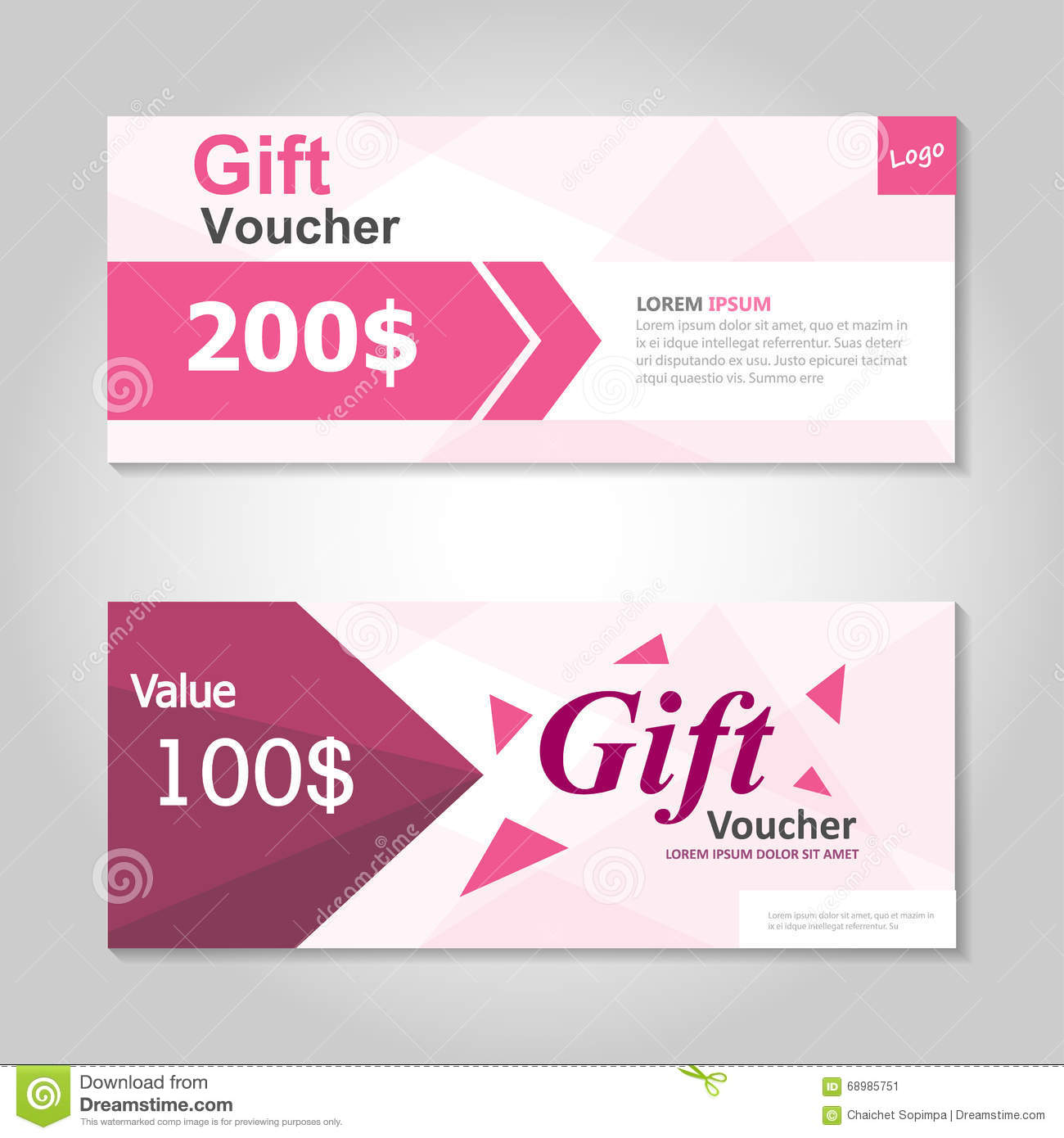 Cute pink gift voucher template layout design set certificate cute pink gift voucher template layout design set certificate discount coupon pattern for shopping xflitez Images