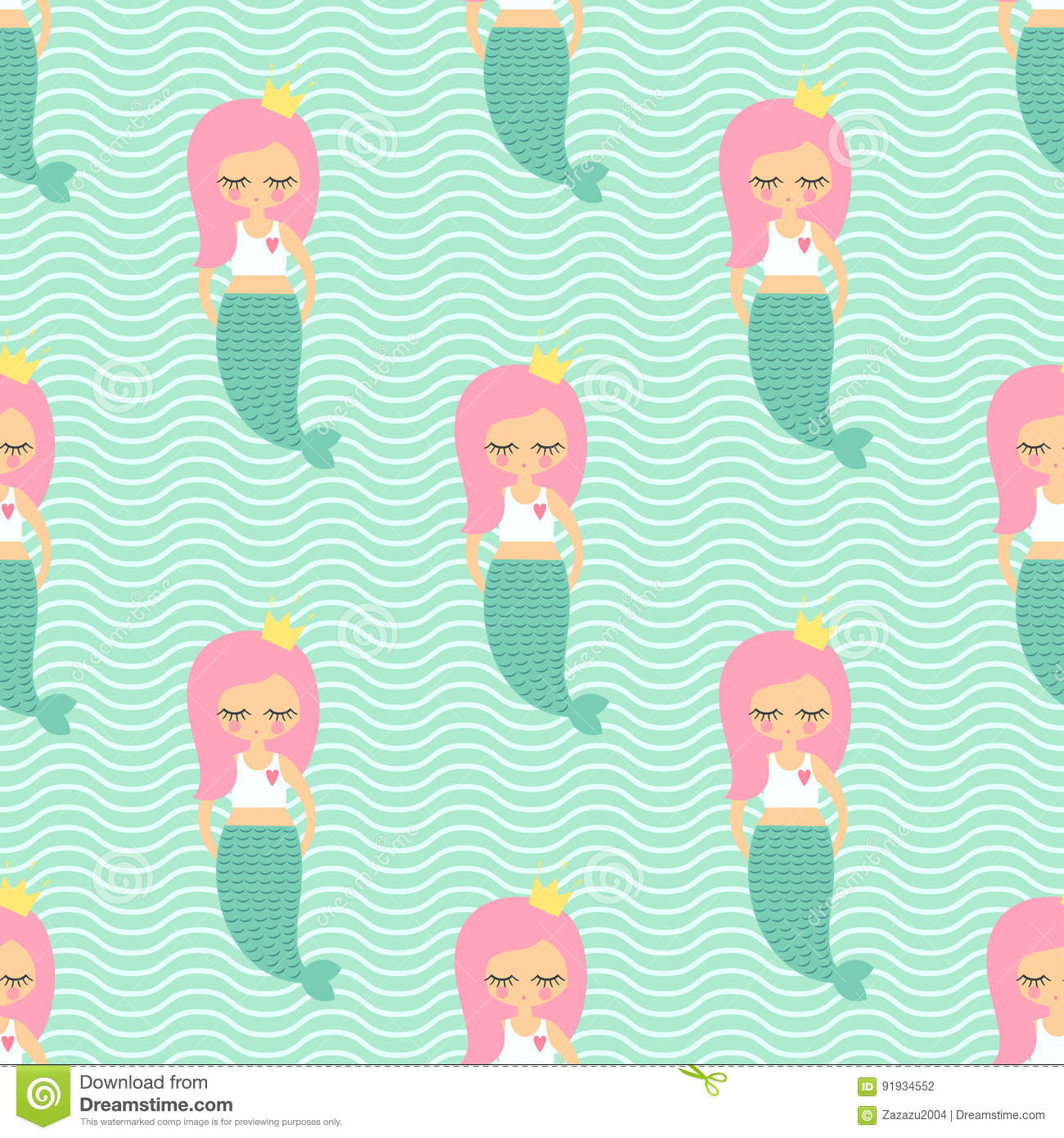 Cute Pink Hair Mermaid Girl Seamless Pattern On Mint Green Waves