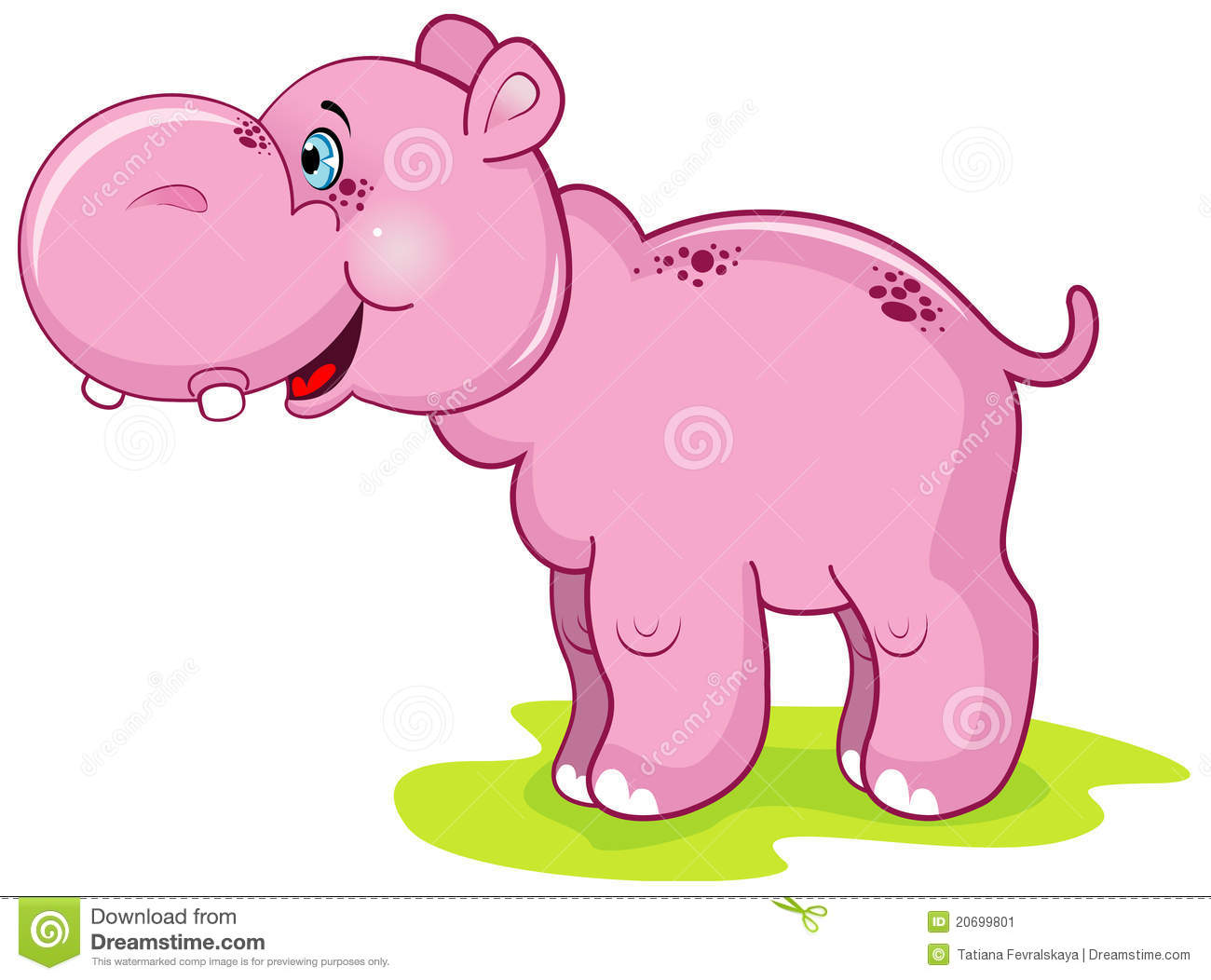 Cute pink hippo stock vector. Illustration of animal ...