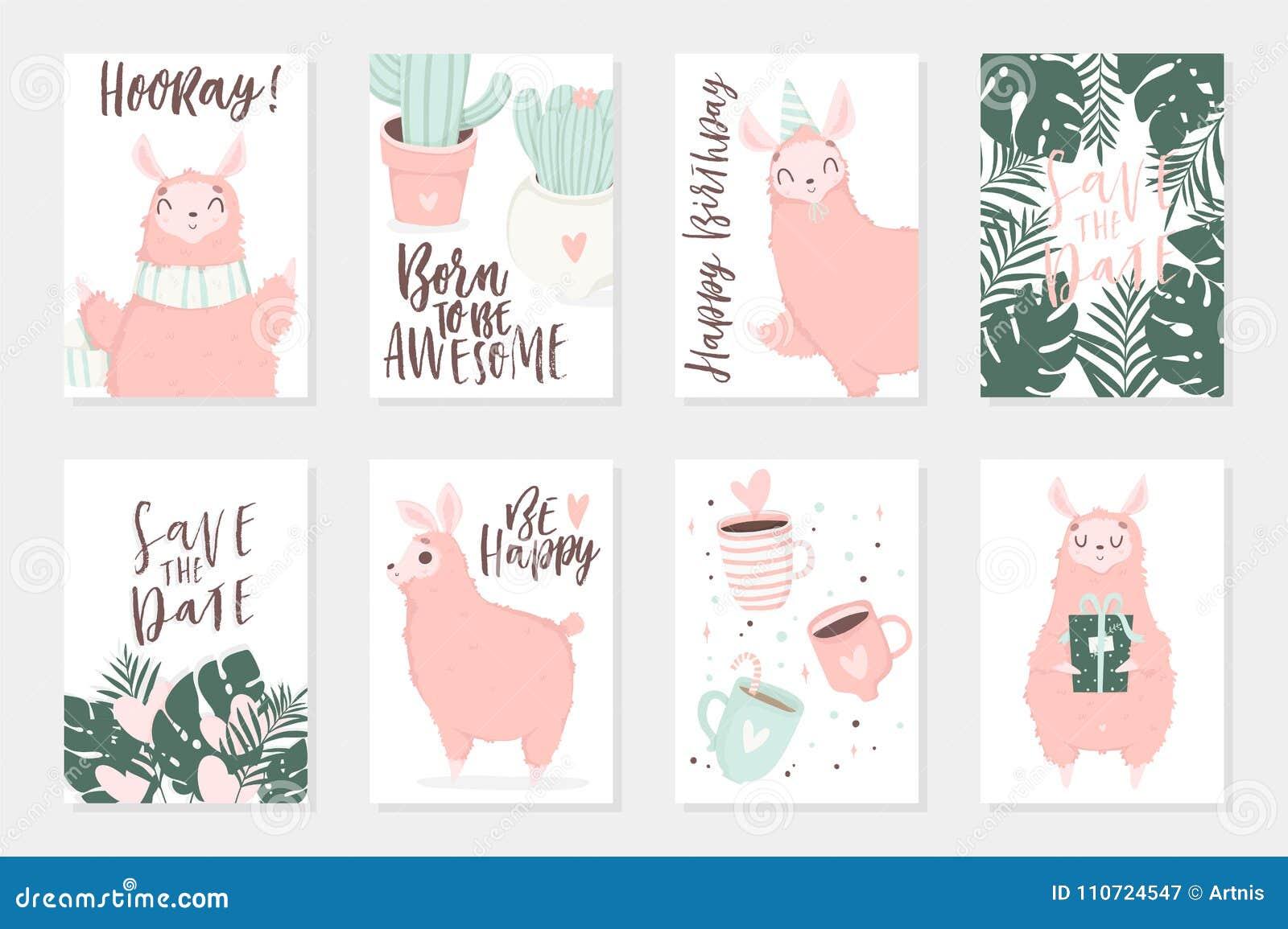 Cute pink lamas hand drawn illustrations. Set of 8 cute cards