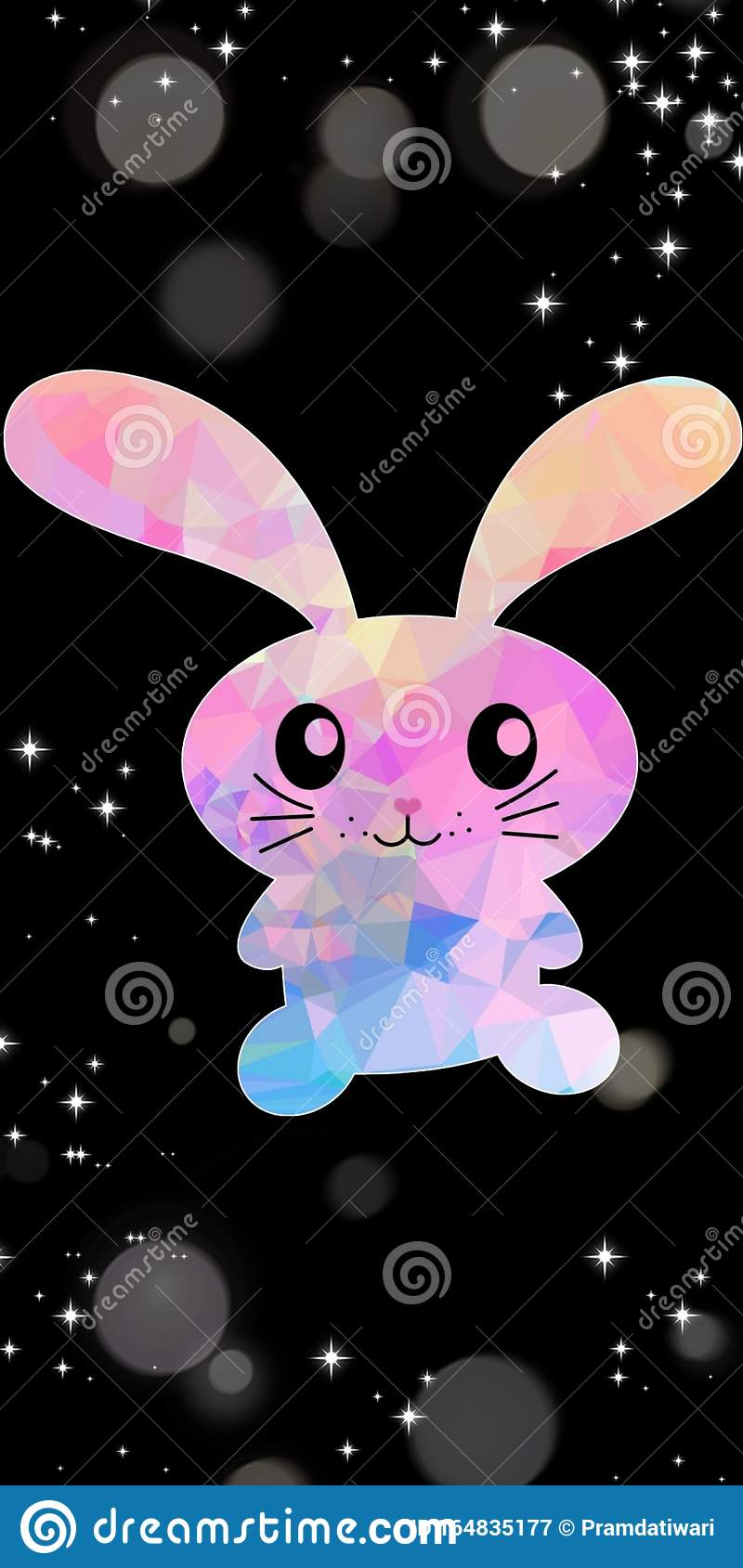 Cute Pink And Light Blue Bunny Rabbit Vector With Black Dark