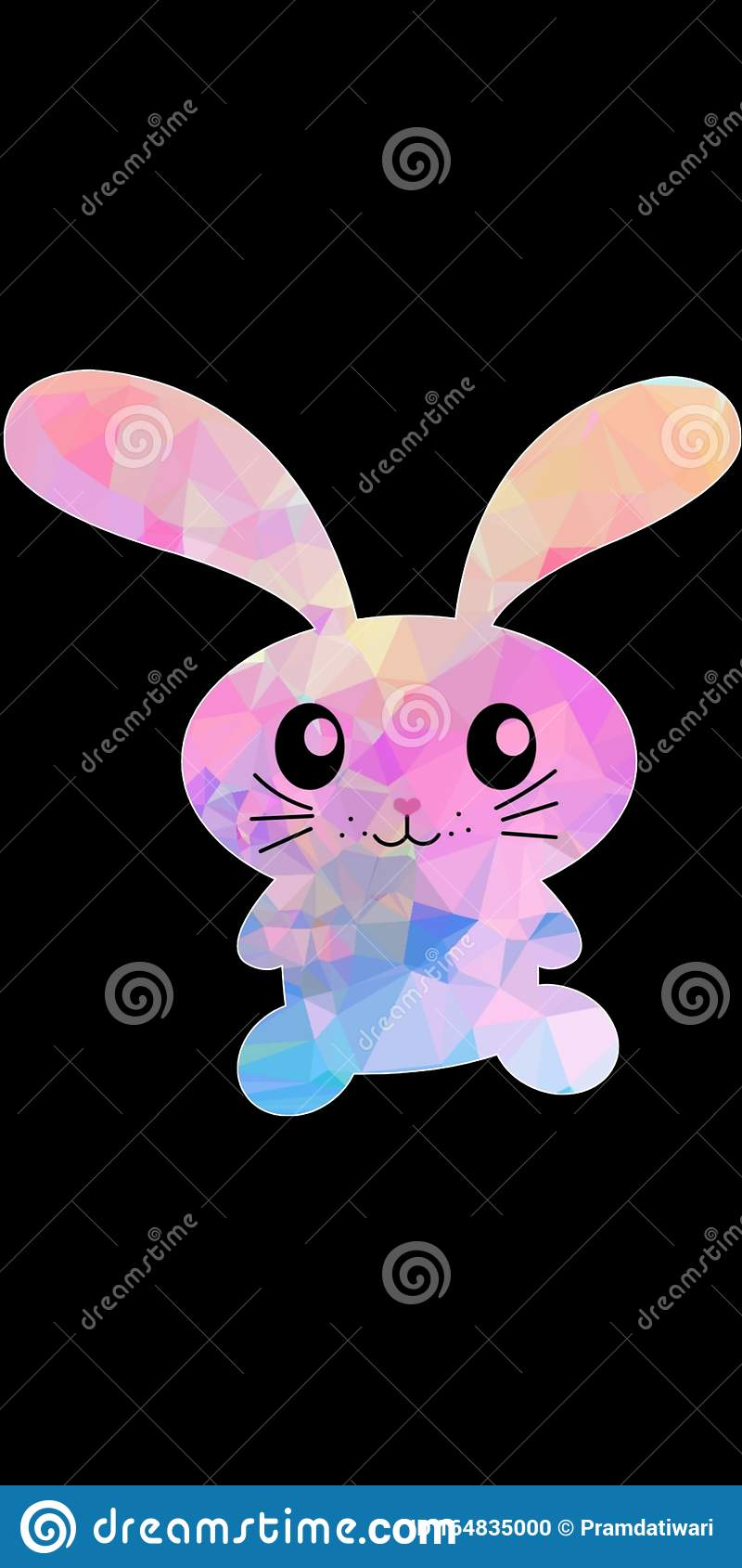 Cute Pink And Light Blue Bunny Rabbit Vector With Black Dark Background For Wallpaper Prints Stock Photo Image Of Theme Iphone 164835000