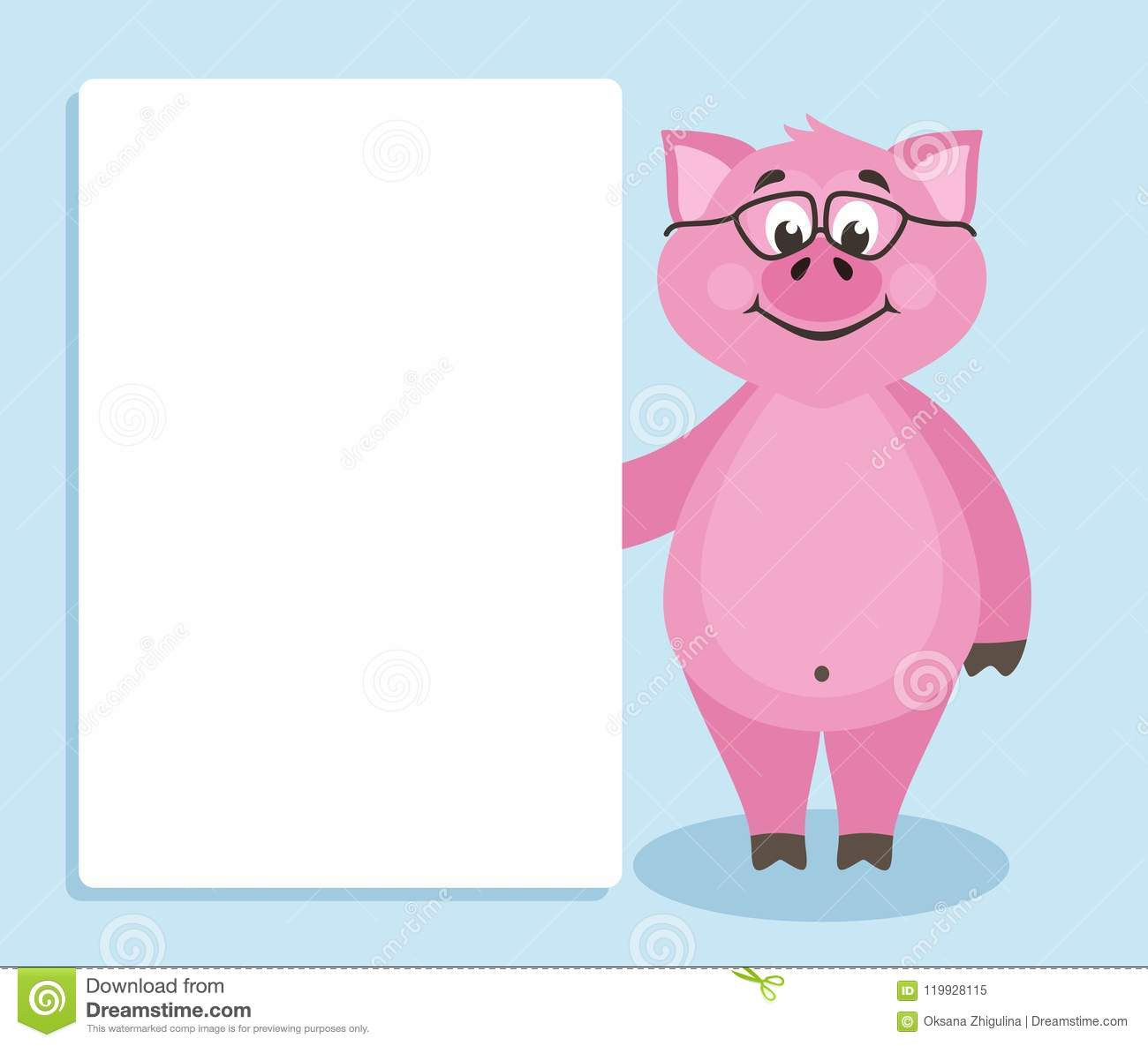 Cute Pink Pig With Glasses On Blue Background Stock Illustration
