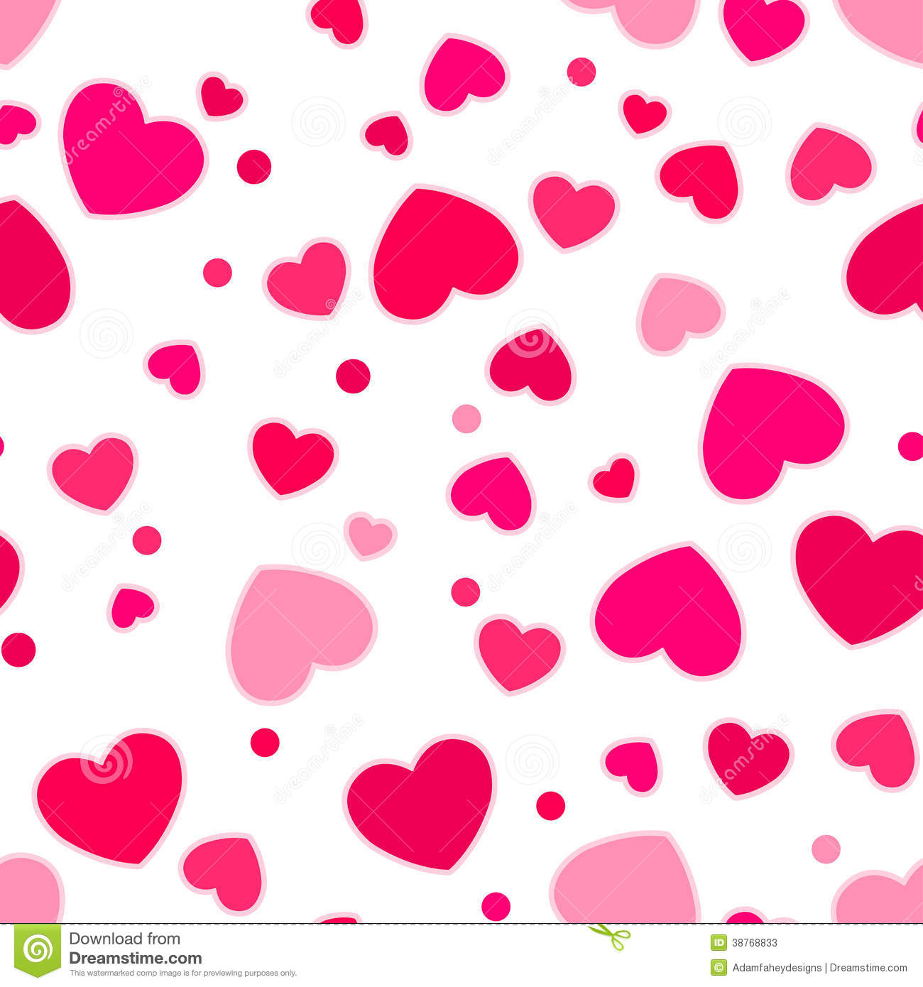 Stock Photos Cute Pink Red Hearts Seamless Pattern Image38768833