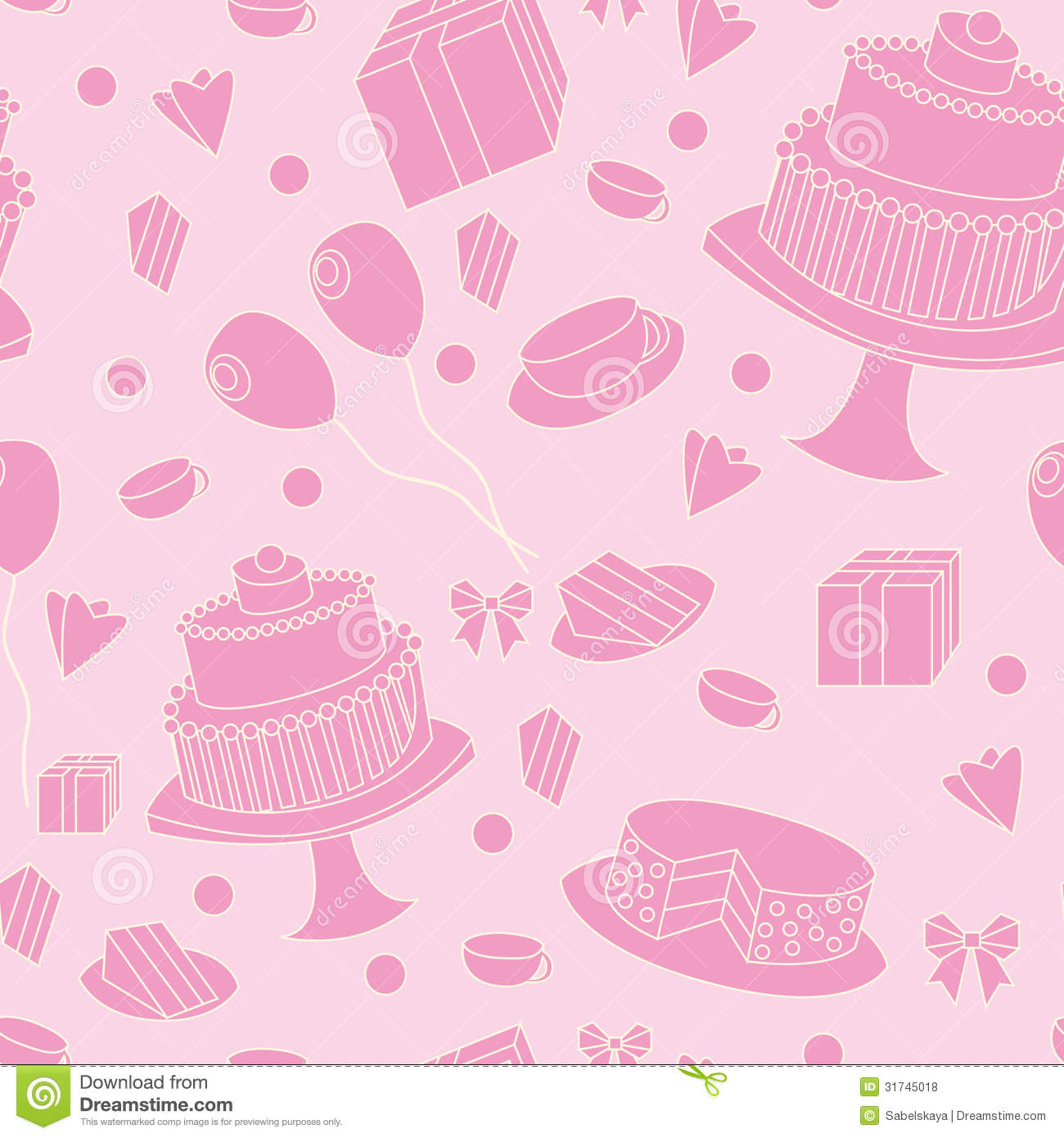 Cute Pink Seamless Festive Background Royalty Free Stock